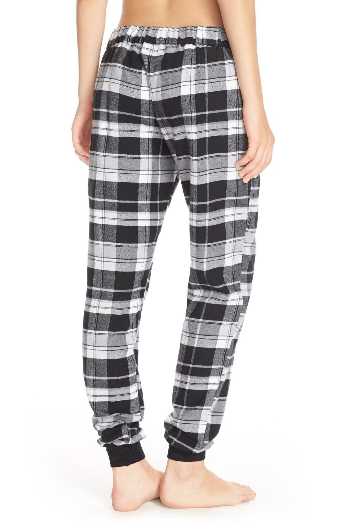 Plaid Flannel Lounge Pants,                             Alternate thumbnail 2, color,                             001