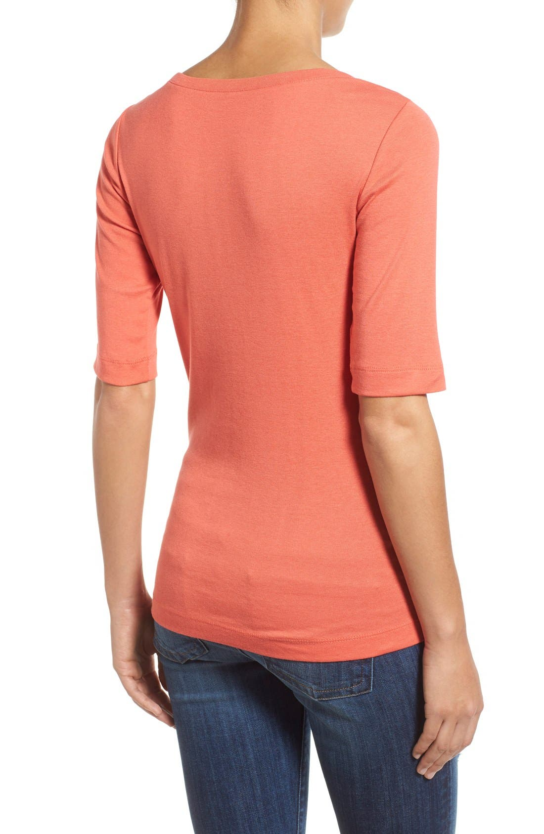 Ballet Neck Cotton & Modal Knit Elbow Sleeve Tee,                             Alternate thumbnail 111, color,
