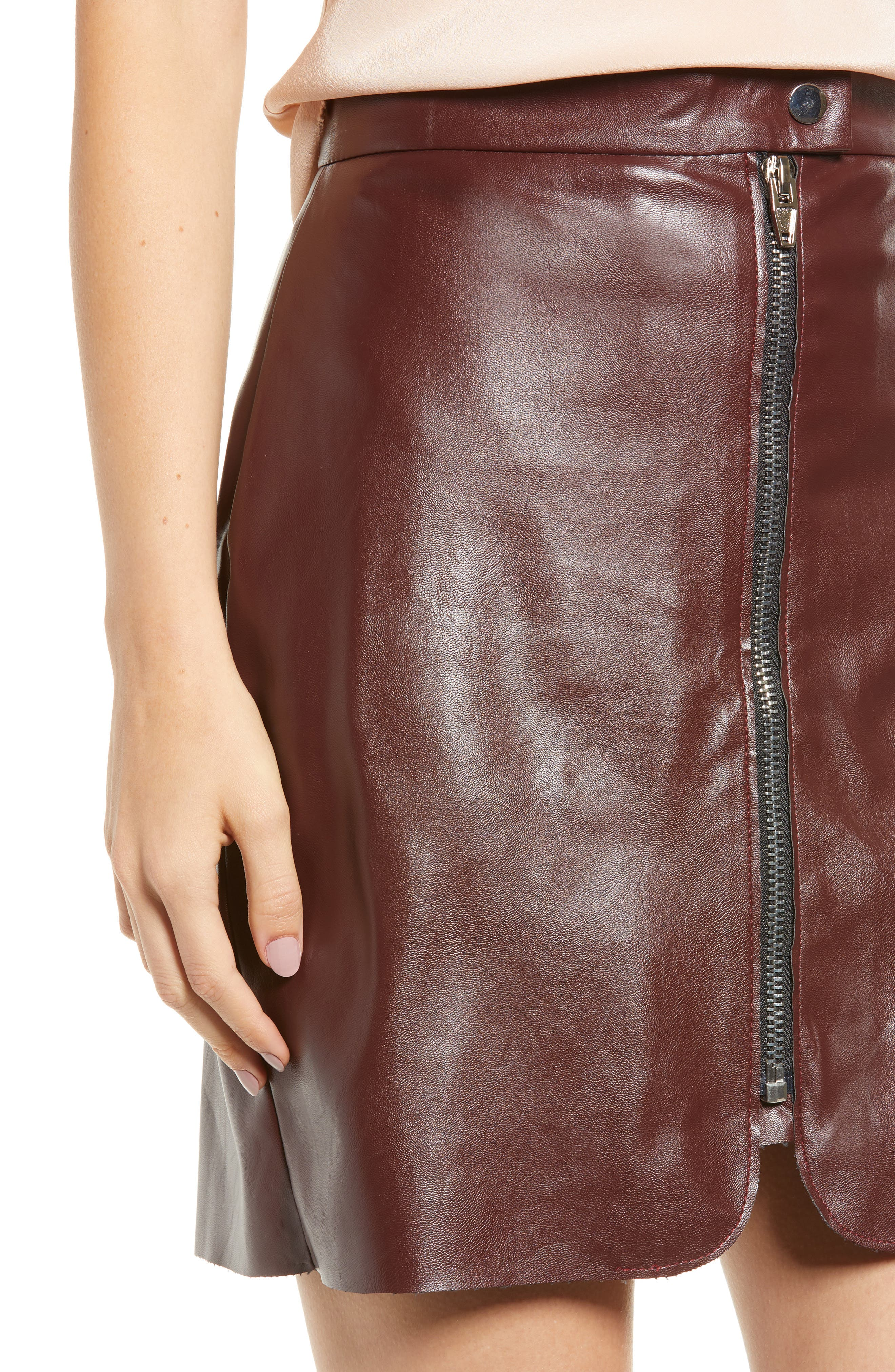 Bishop + Young Exposed Zip Miniskirt,                             Alternate thumbnail 4, color,                             BURGUNDY
