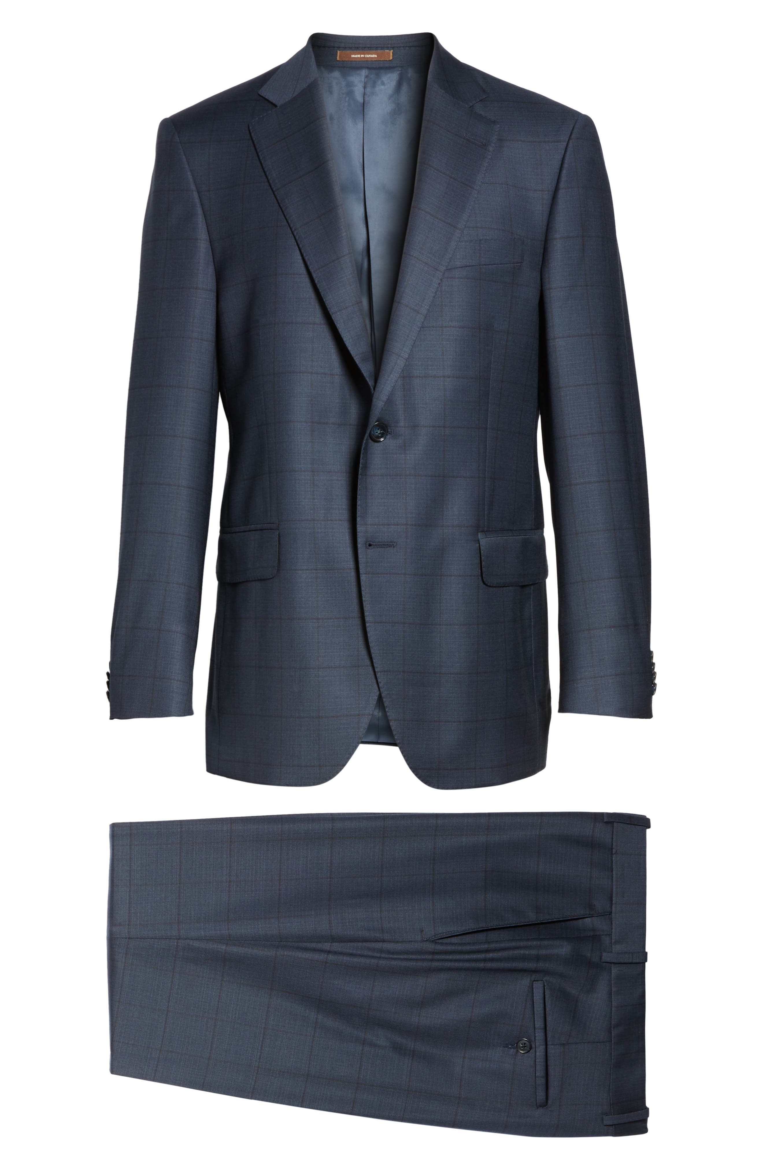 Flynn Classic Fit Windowpane Wool Suit,                             Alternate thumbnail 8, color,                             410