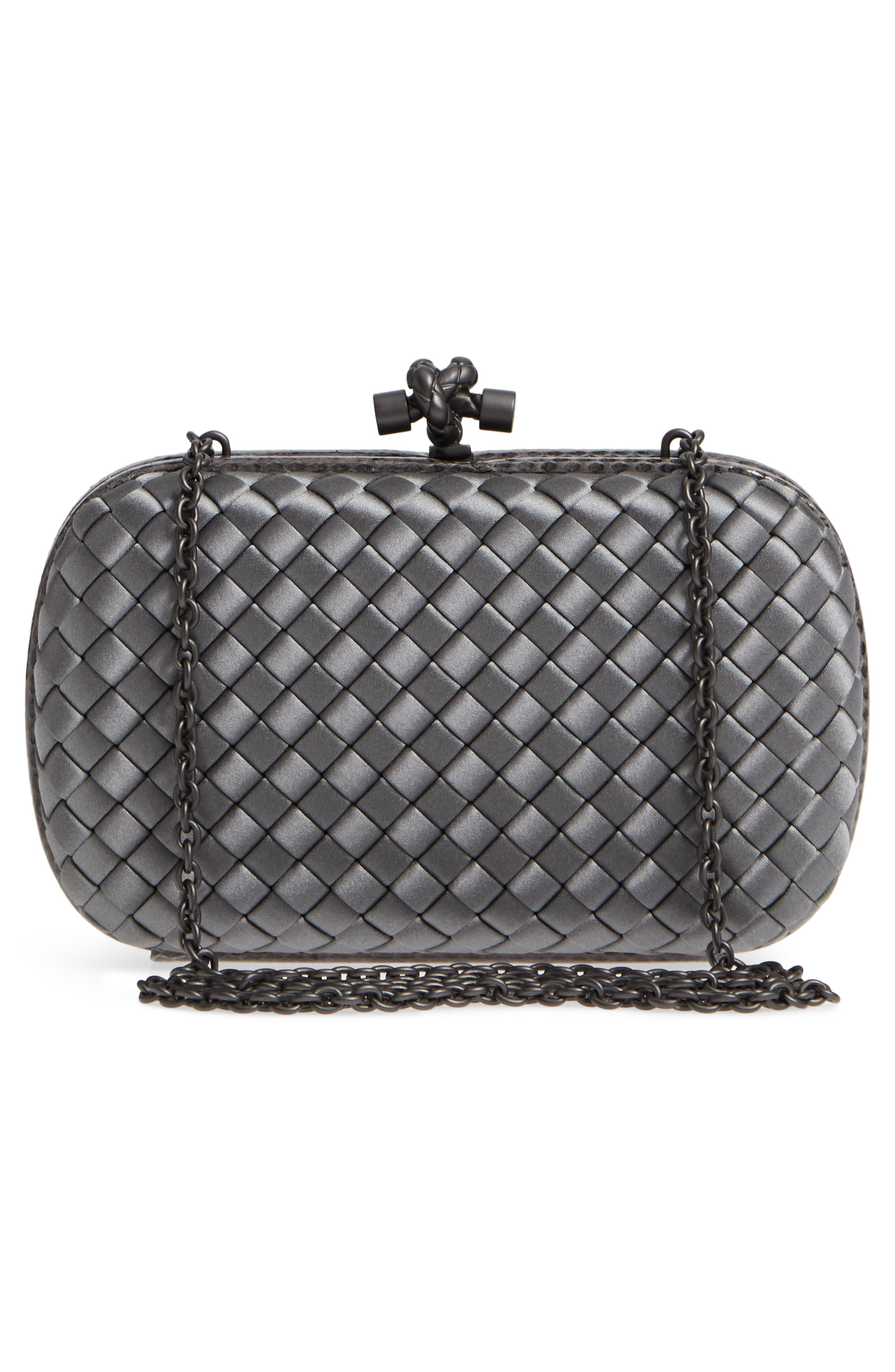 New Satin & Genuine Snakeskin Knot Clutch,                             Alternate thumbnail 3, color,                             8522- NEW LIGHT GREY