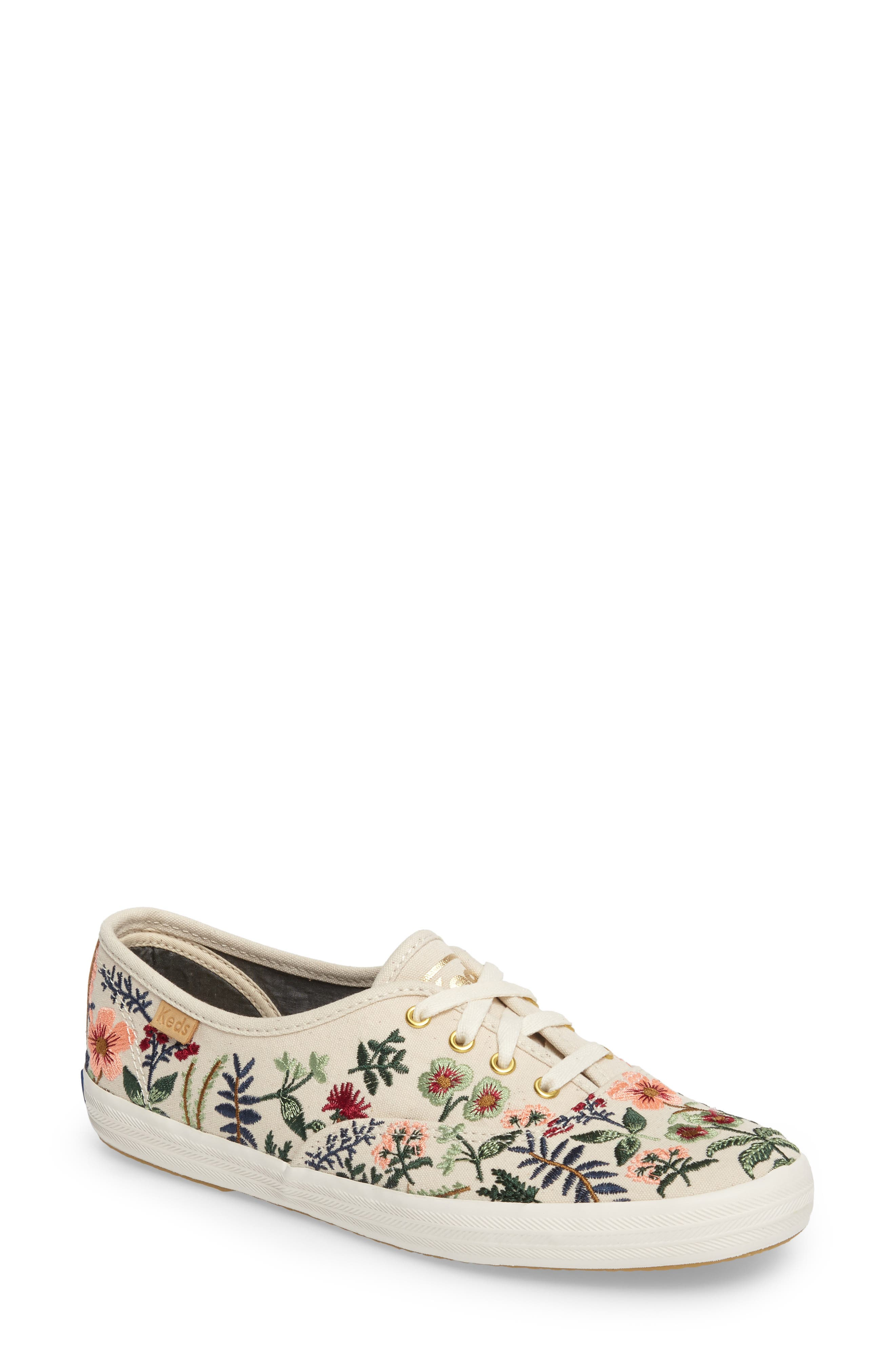 x Rifle Paper Co. Herb Garden Embroidered Sneaker,                             Main thumbnail 1, color,                             101