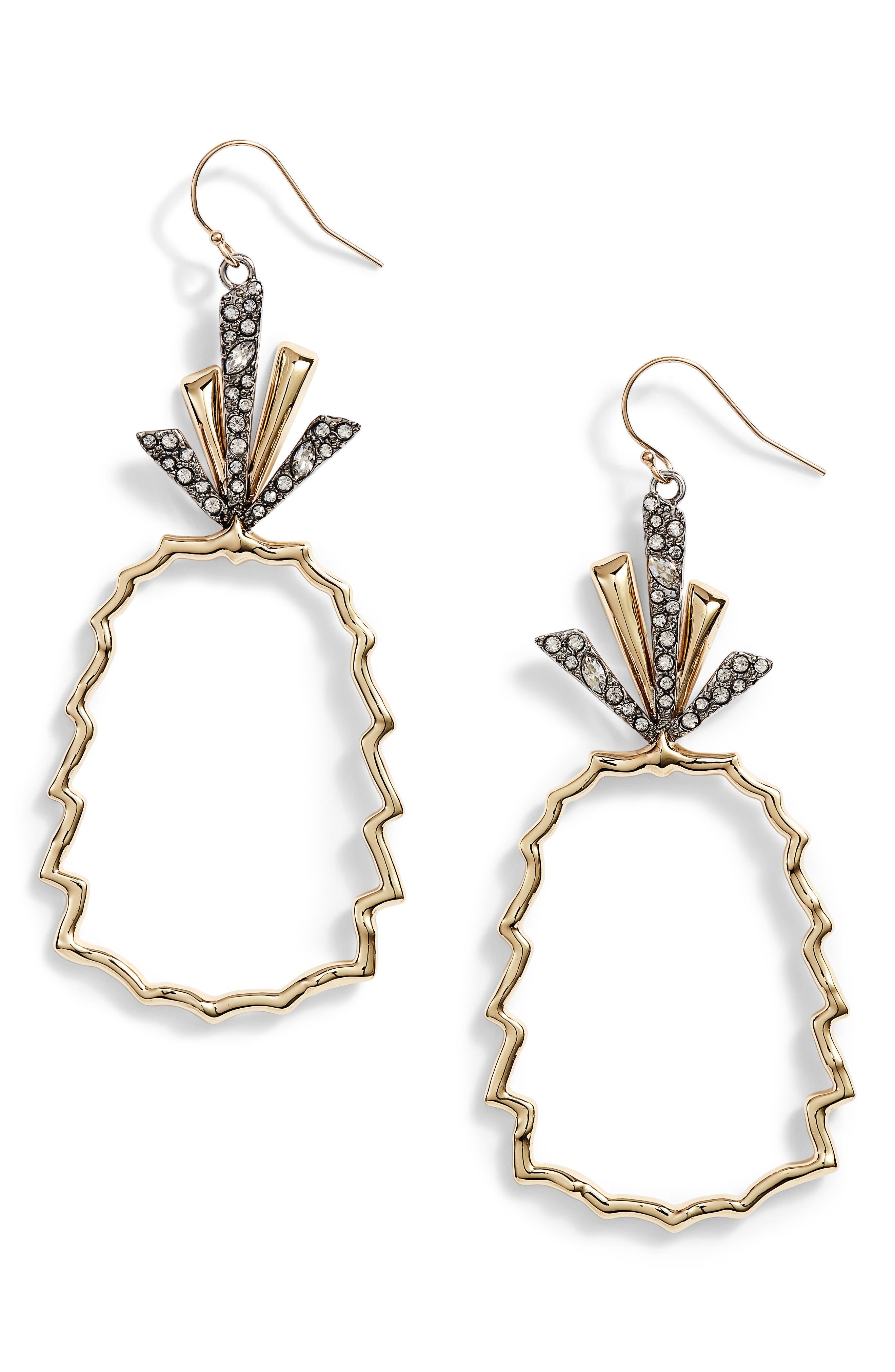 Crystal Leaf Pineapple Earrings,                         Main,                         color, GOLD