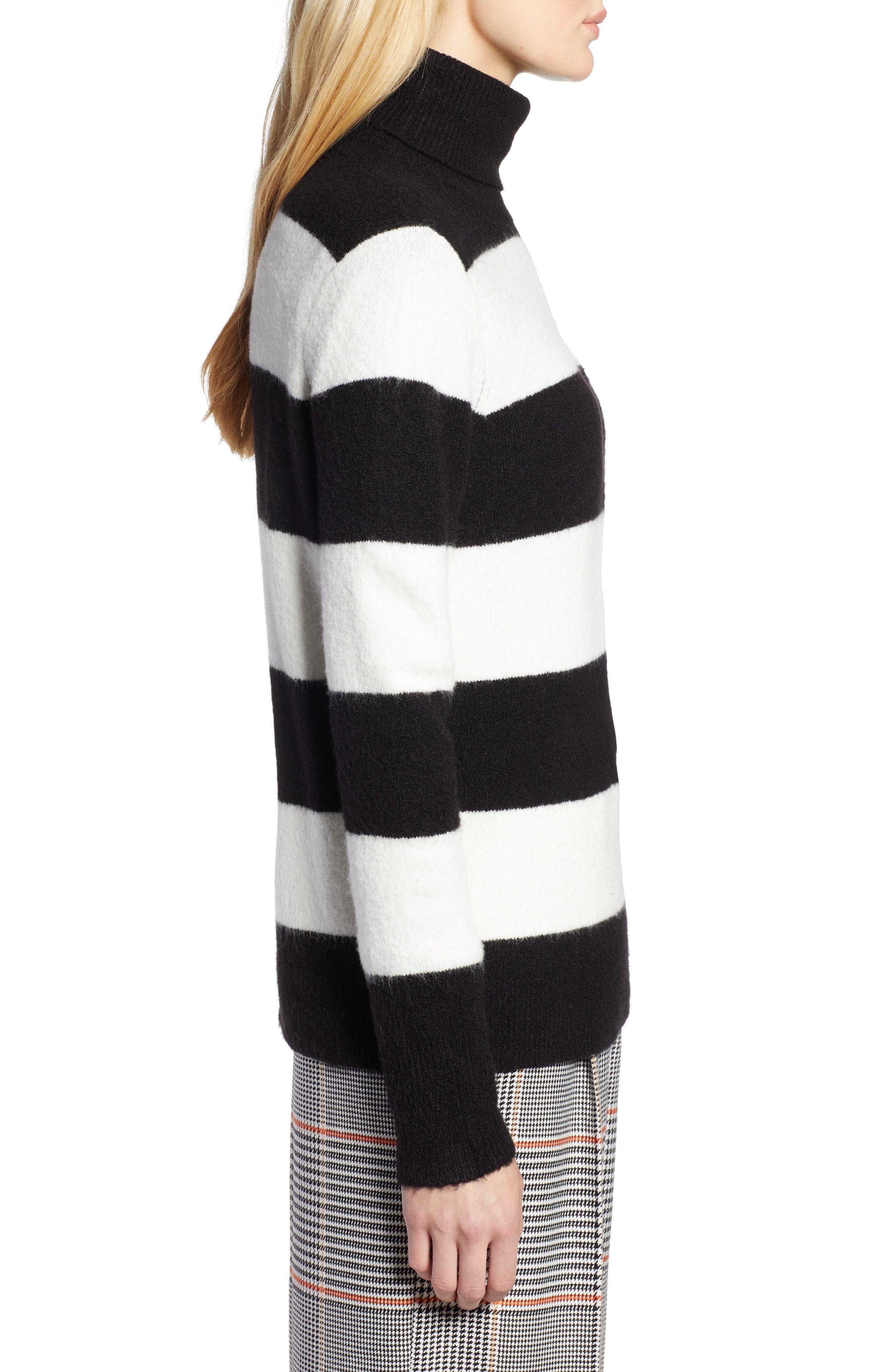 x Atlantic-Pacific Stripe Turtleneck Sweater,                             Alternate thumbnail 4, color,                             BLACK- IVORY STRIPE