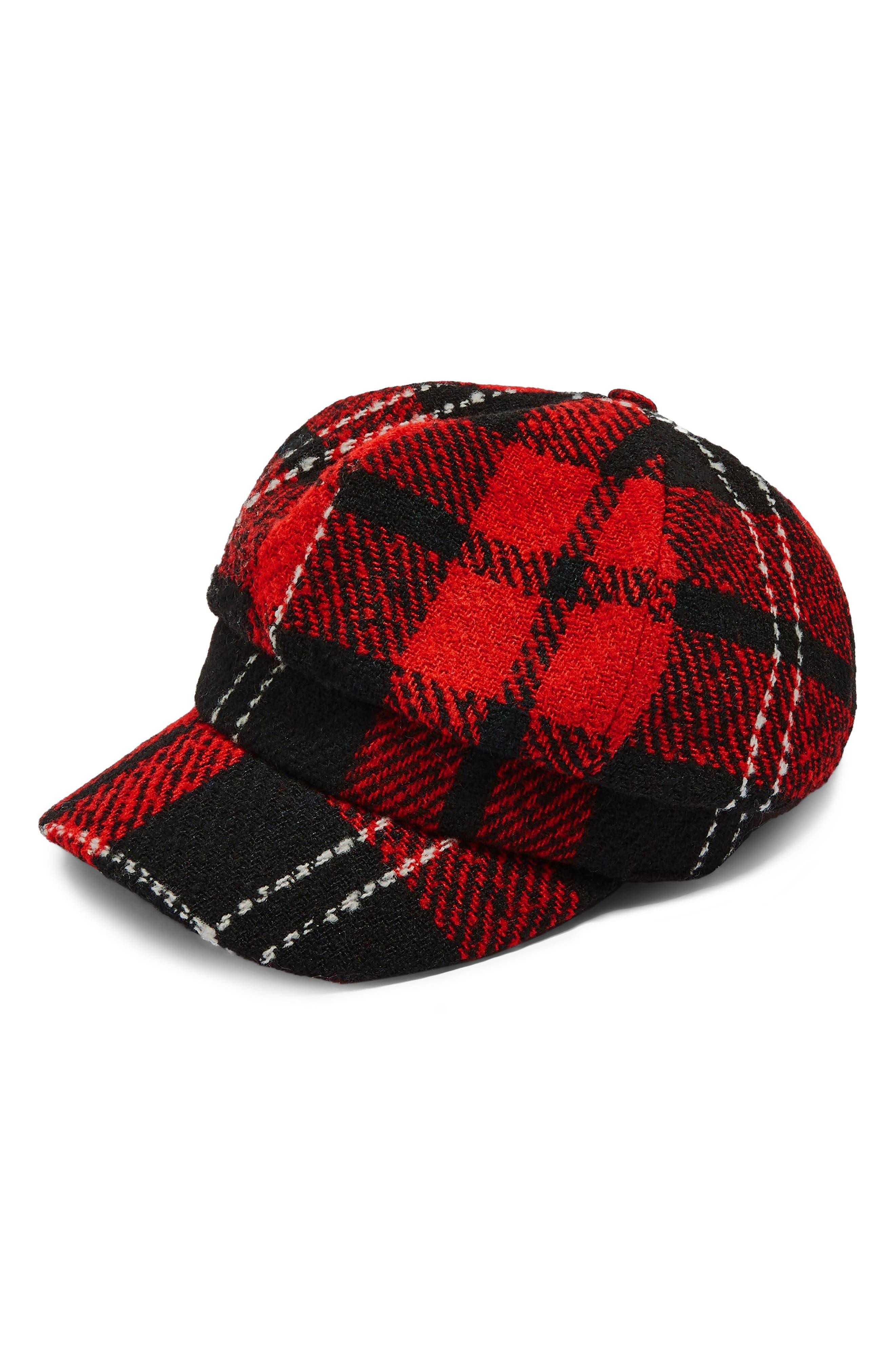 Lumberjack Baker Boy Hat,                             Alternate thumbnail 4, color,                             RED MULTI