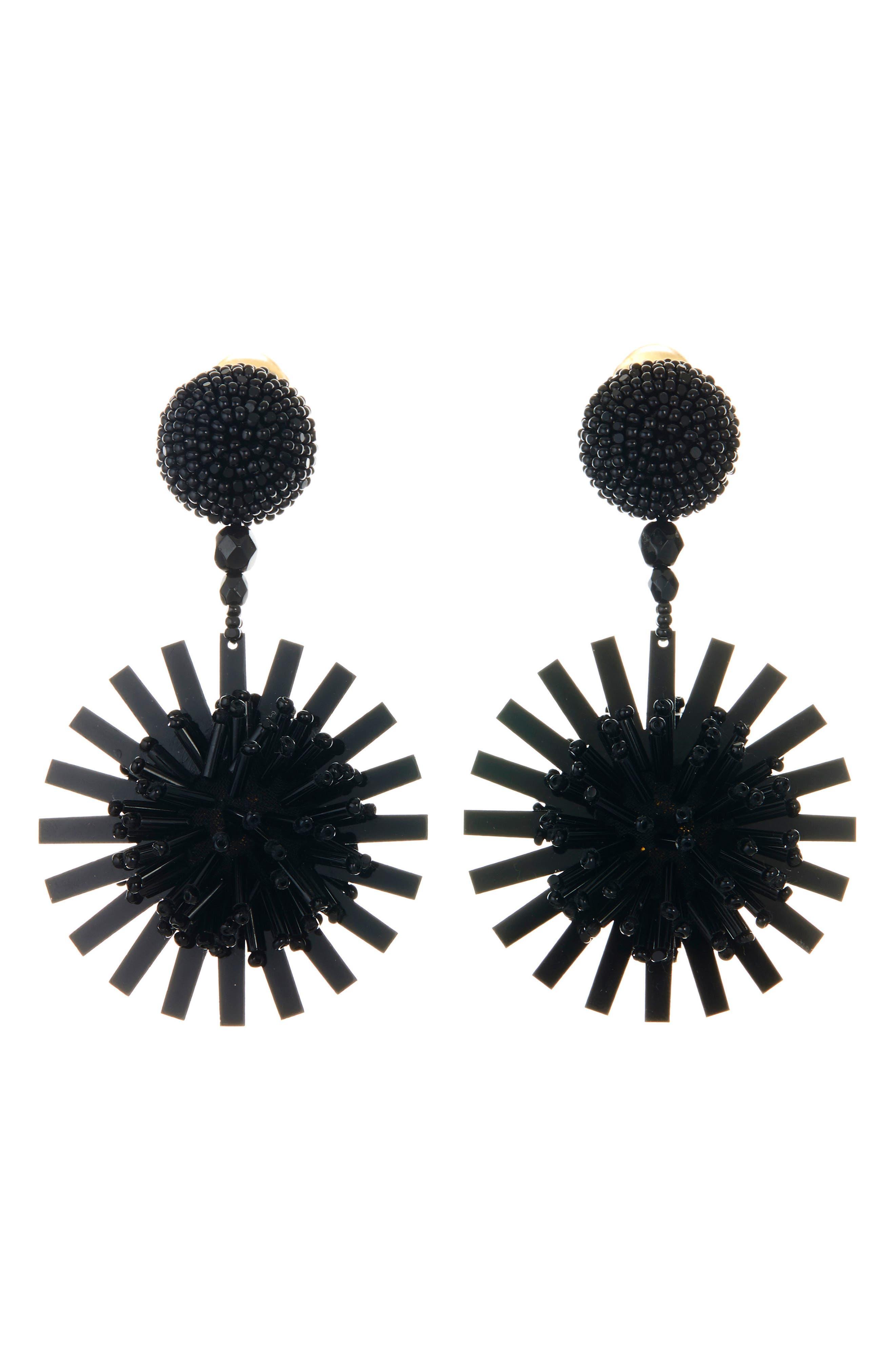 Beaded Pom Pom Flower Drop Earrings,                         Main,                         color, BLACK
