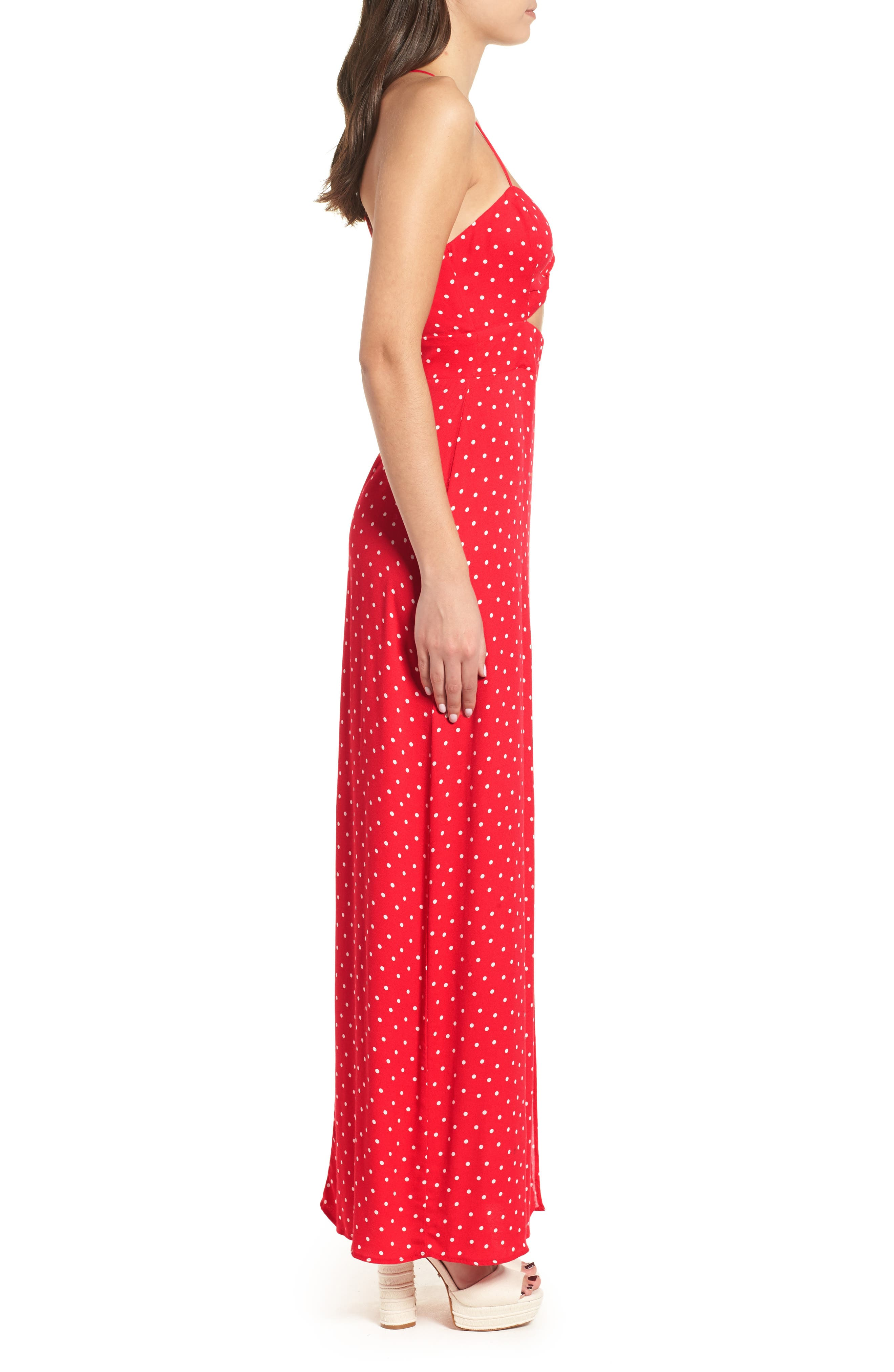 Marie Twisted Knot Front Maxi Dress,                             Alternate thumbnail 3, color,                             RED POLKA DOT