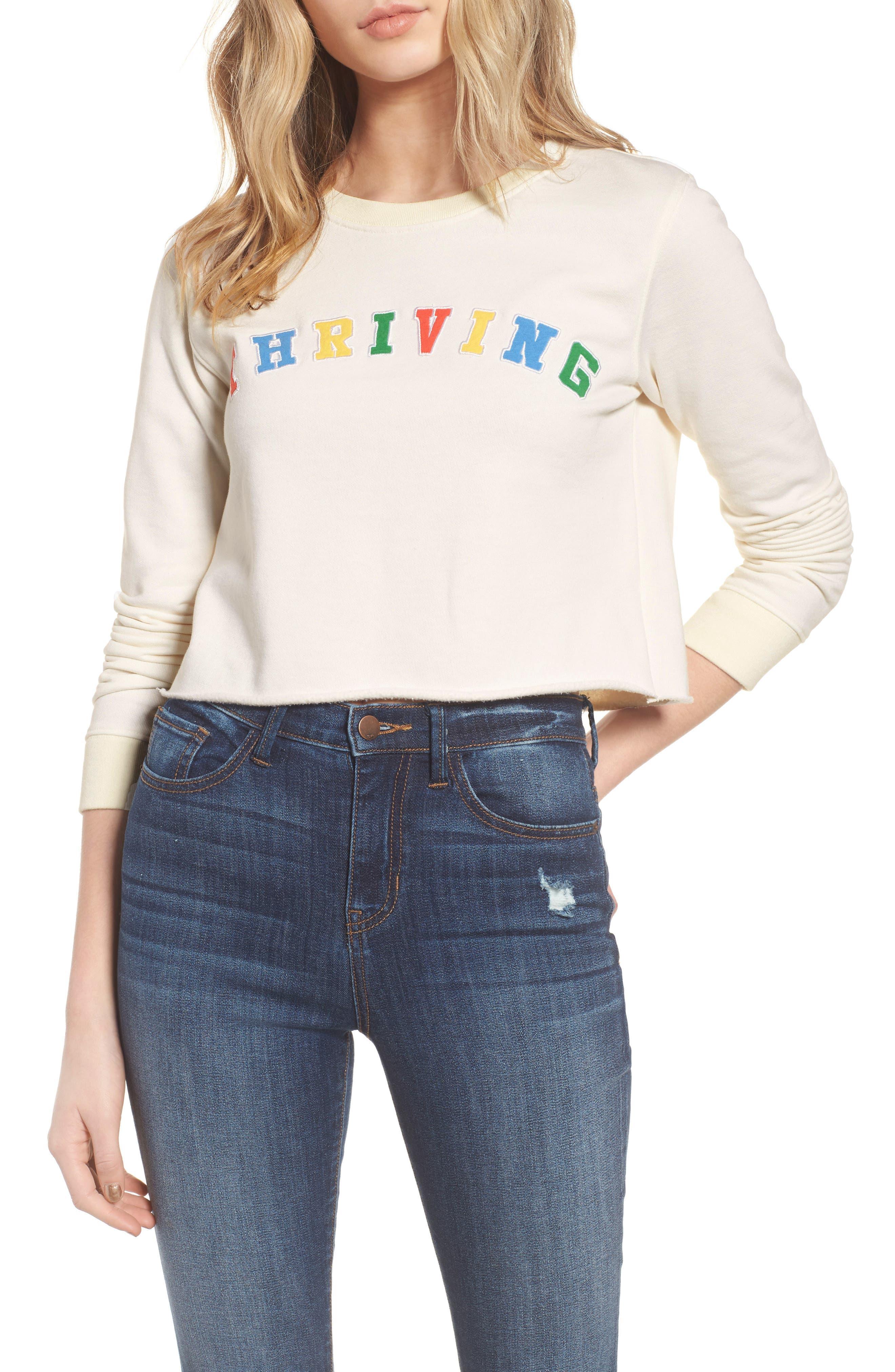 Thriving Crop Sweatshirt,                         Main,                         color, 900
