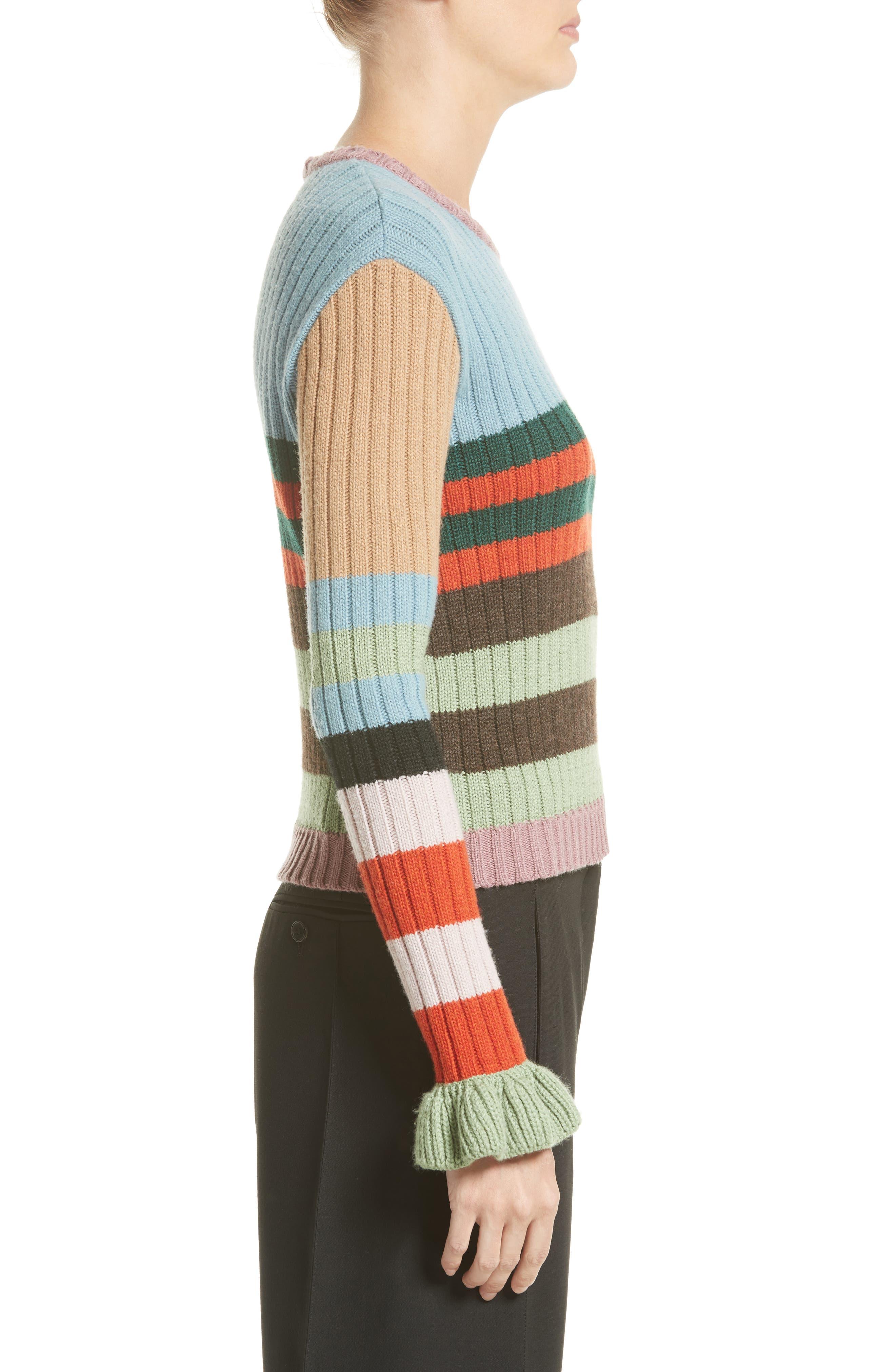Stripe Wool Sweater,                             Alternate thumbnail 3, color,                             020