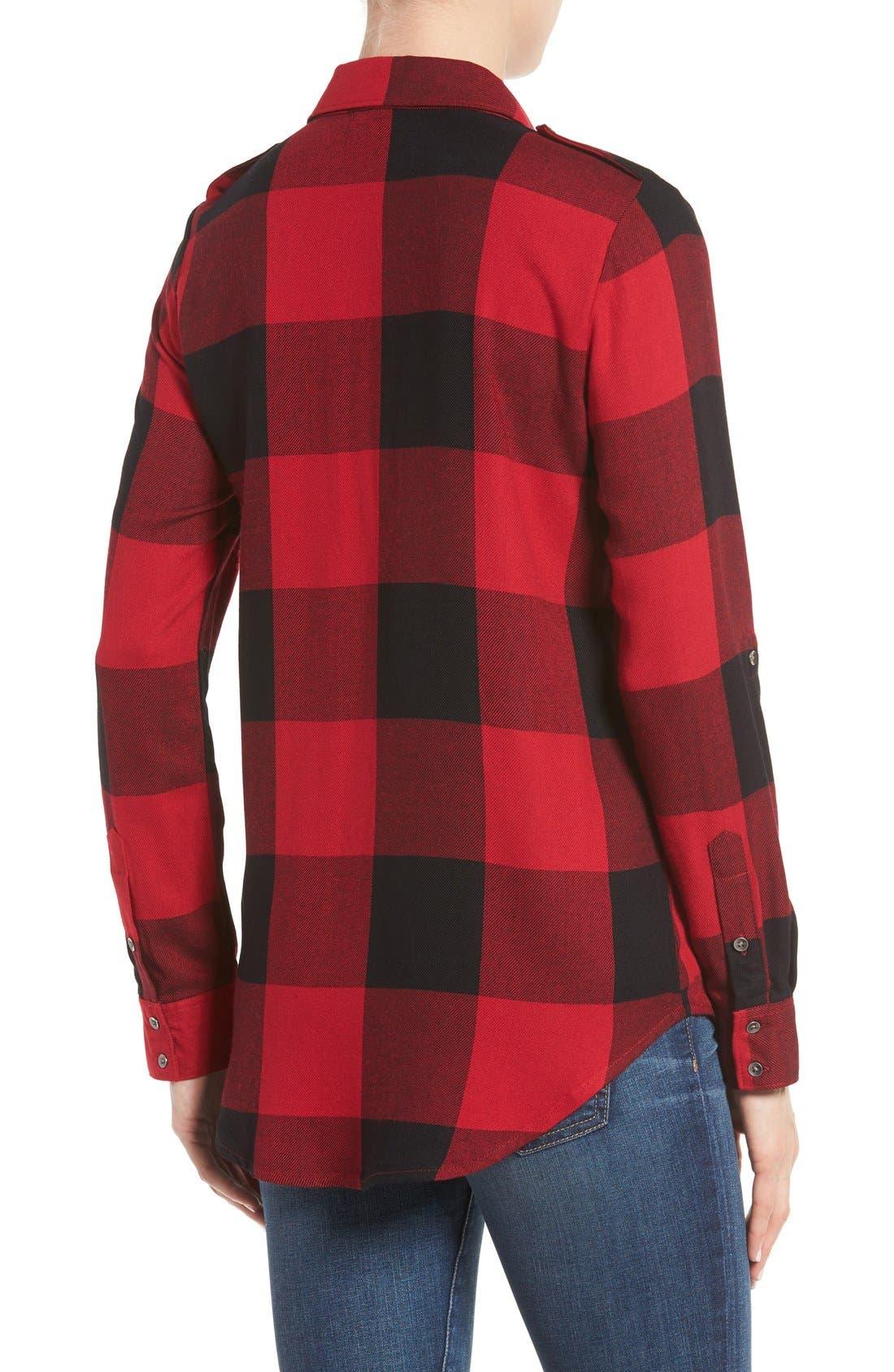 Roll Sleeve Plaid Shirt,                             Alternate thumbnail 4, color,                             600