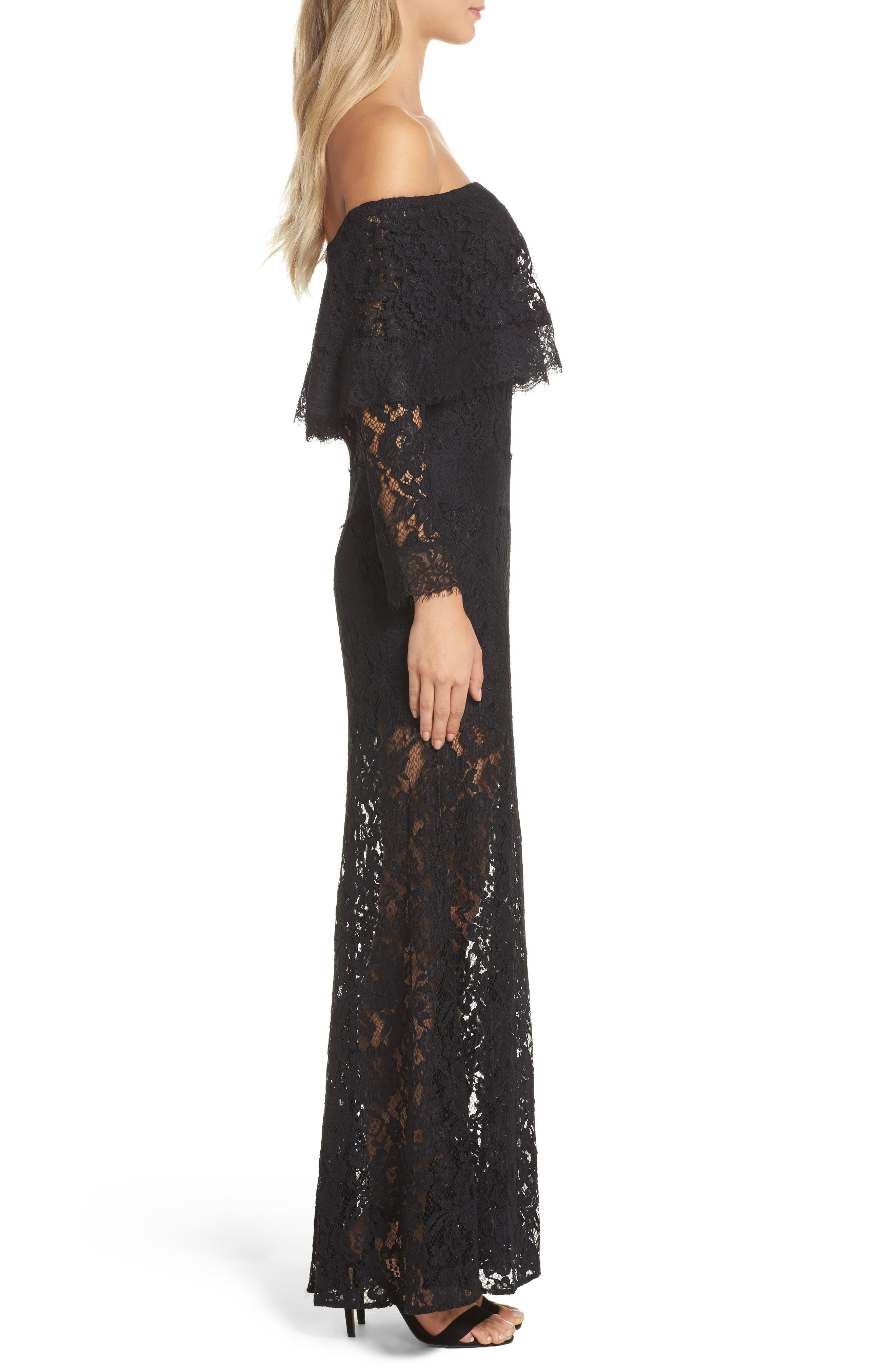 Soiree Lace Off the Shoulder Gown,                             Alternate thumbnail 3, color,                             001
