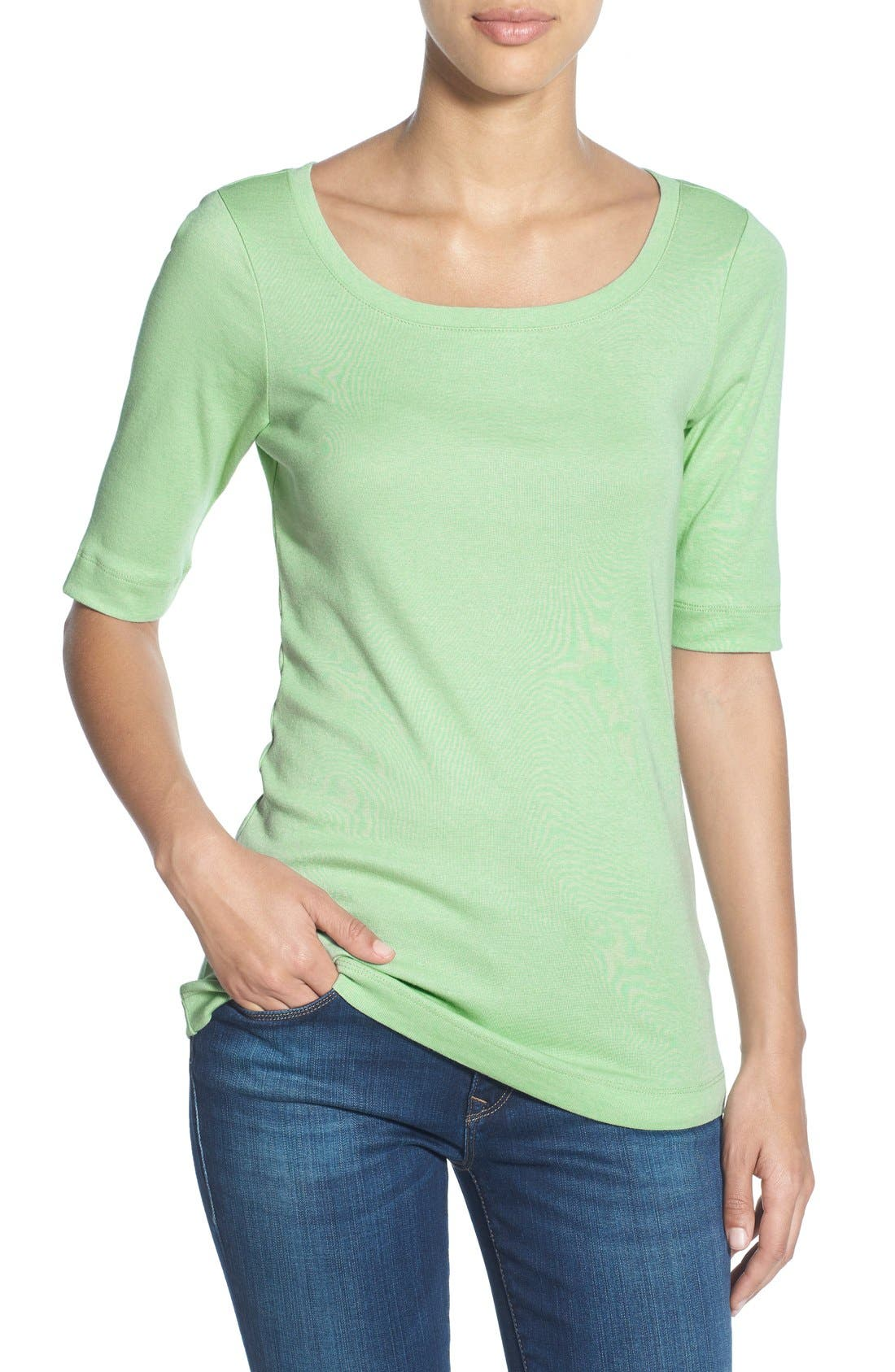 Ballet Neck Cotton & Modal Knit Elbow Sleeve Tee,                             Main thumbnail 19, color,