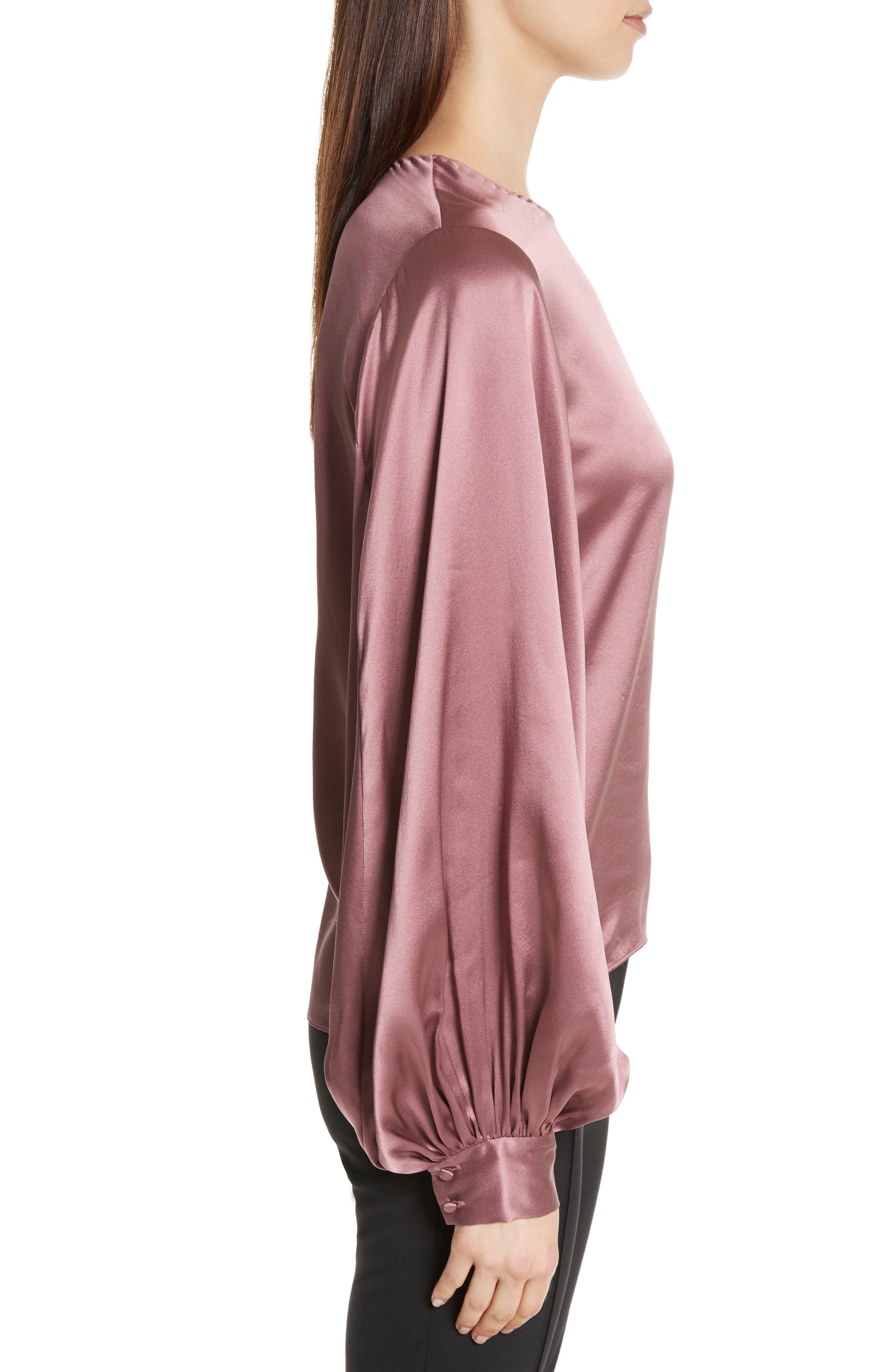 Loretta Silk Puff Sleeve Blouse,                             Alternate thumbnail 3, color,                             650