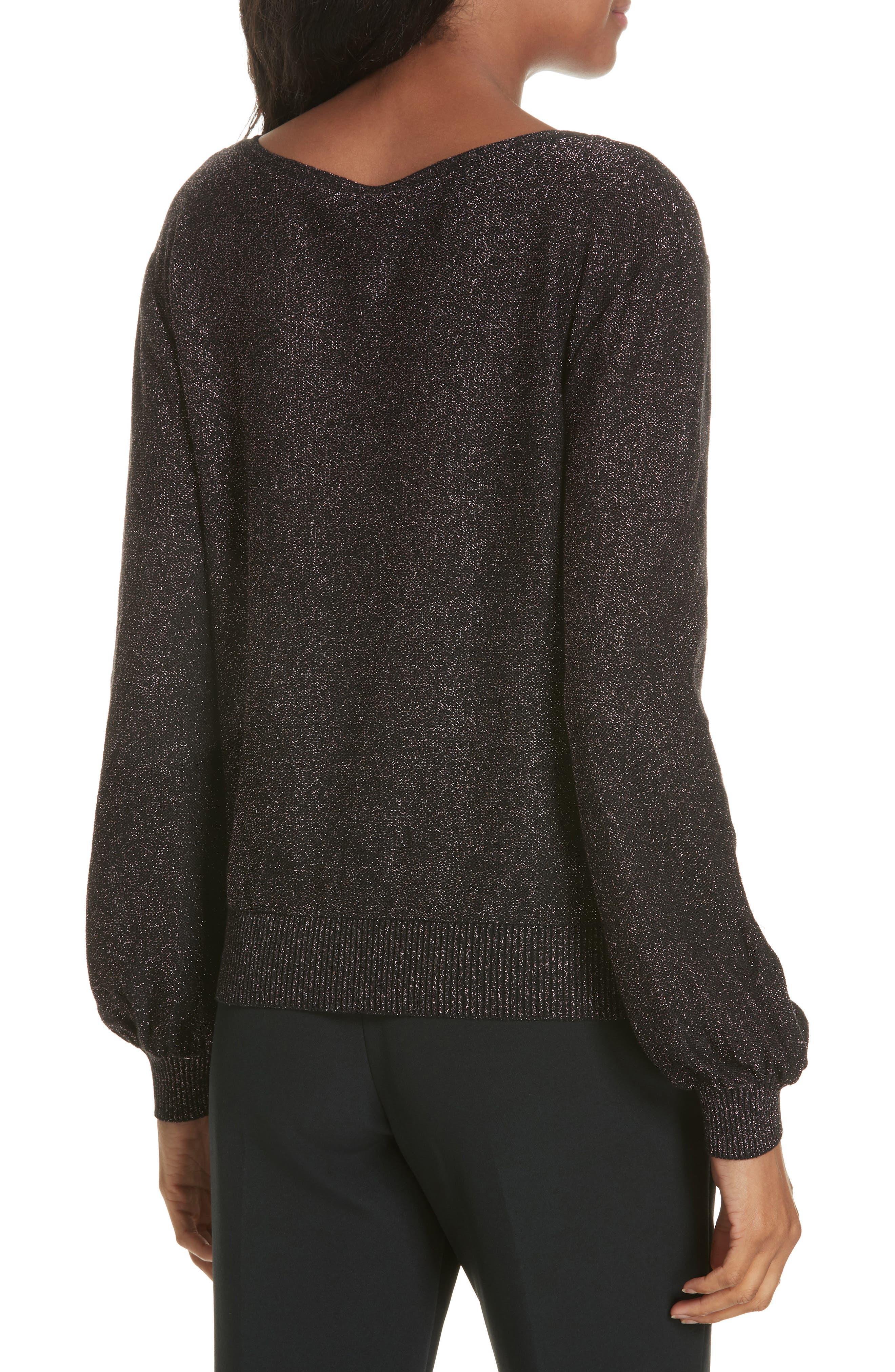 Metallic Shimmer Cotton Blend Sweater,                             Alternate thumbnail 2, color,                             LILAC