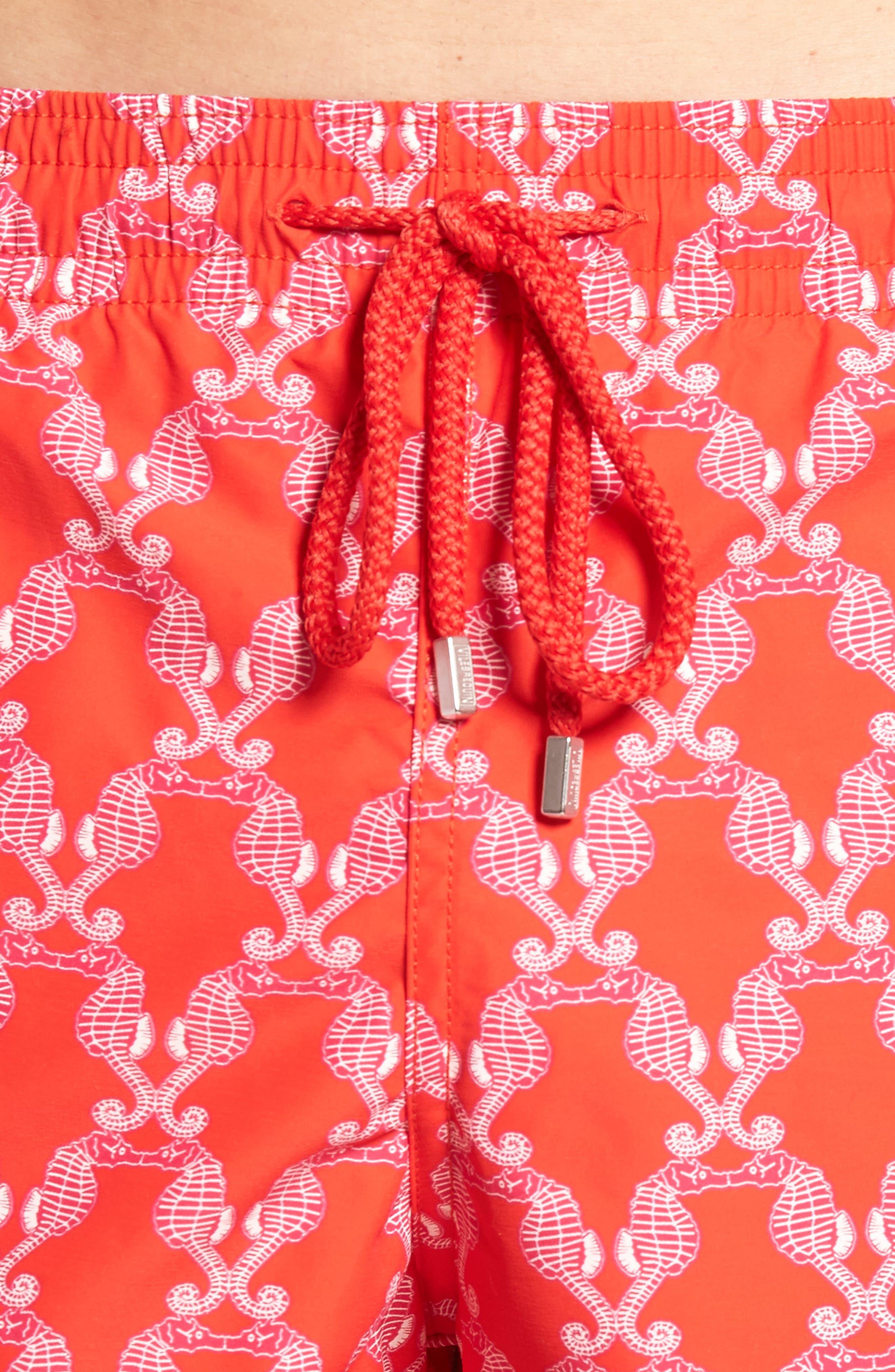 Seahorses Swim Trunks,                             Alternate thumbnail 4, color,                             POPPY RED