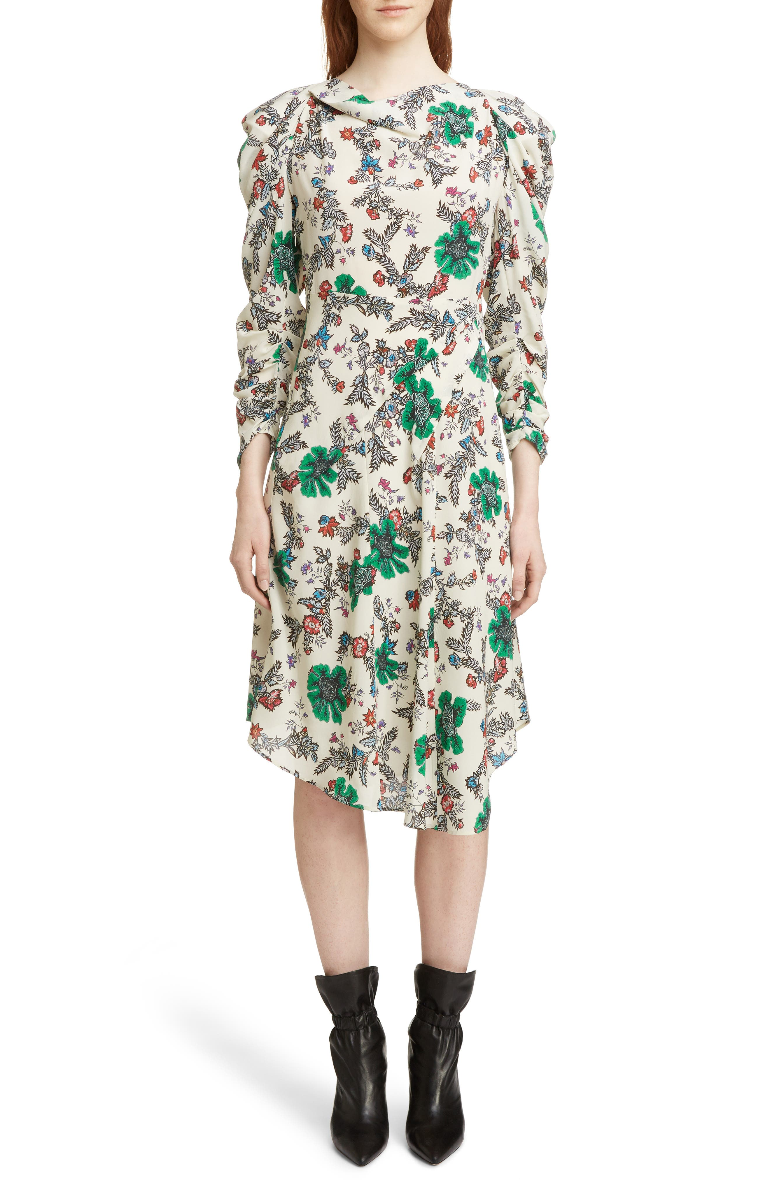 Carley Ruched Sleeve Silk Blend Dress, Main, color, 900