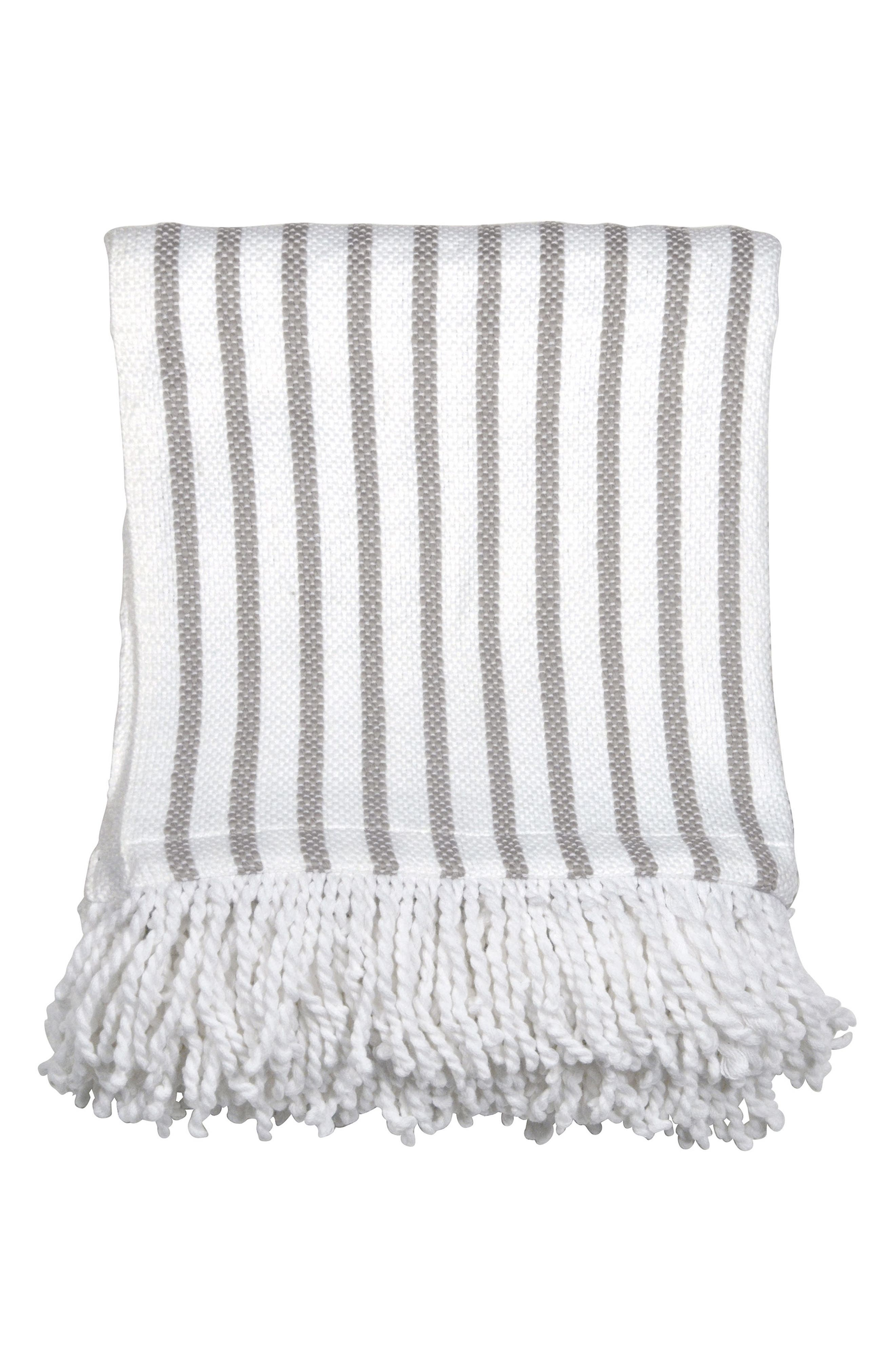 Fringe Throw Blanket,                             Main thumbnail 1, color,                             GREY/ WHITE
