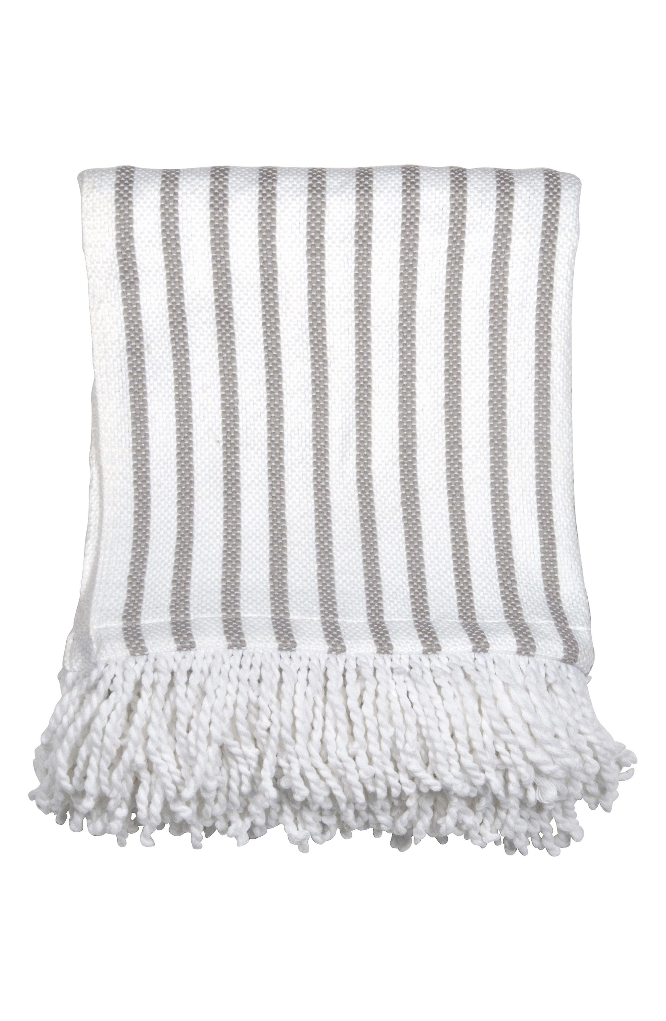 Fringe Throw Blanket,                         Main,                         color, GREY/ WHITE