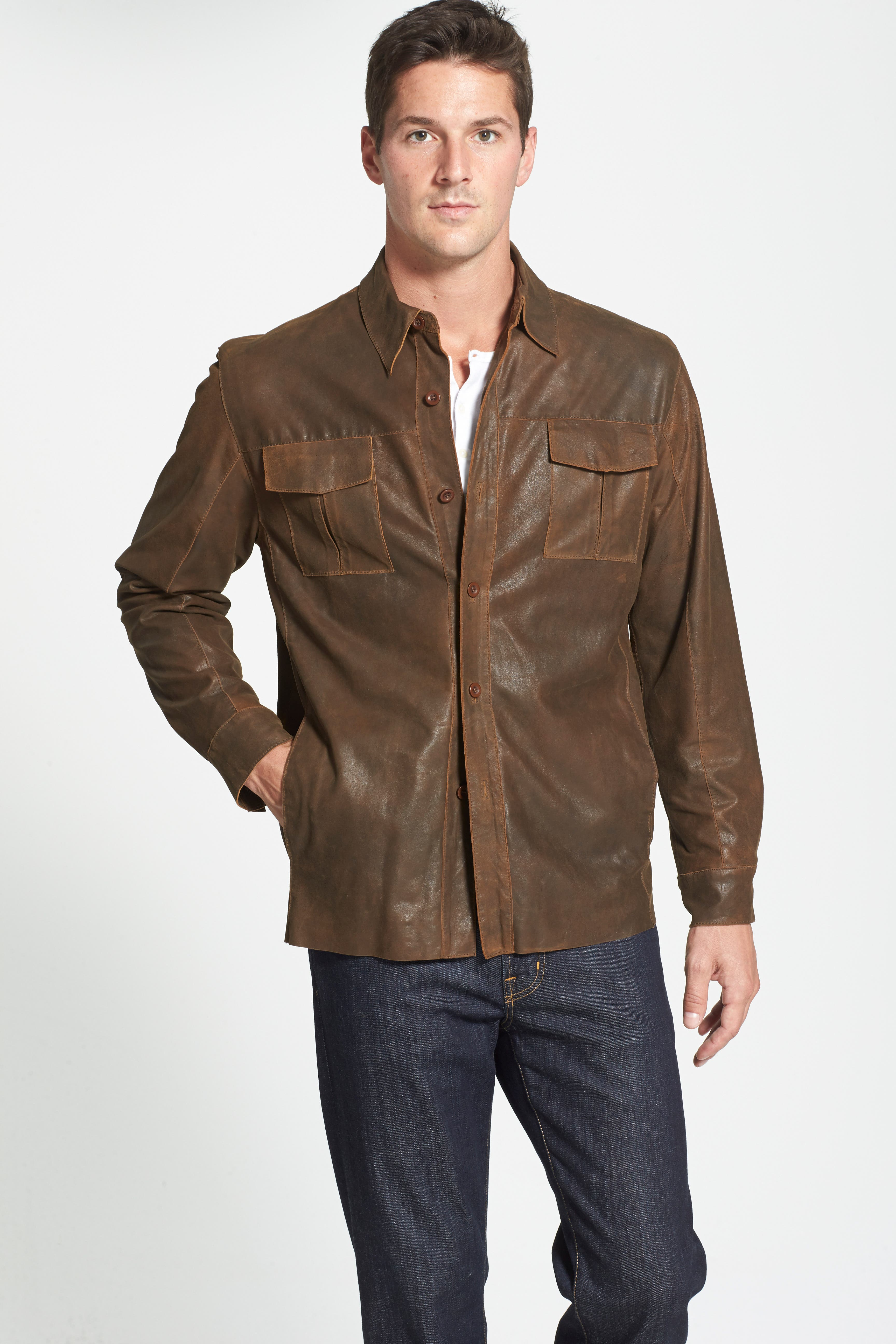 Classic Fit Military Shirt Leather Jacket,                             Alternate thumbnail 3, color,                             220