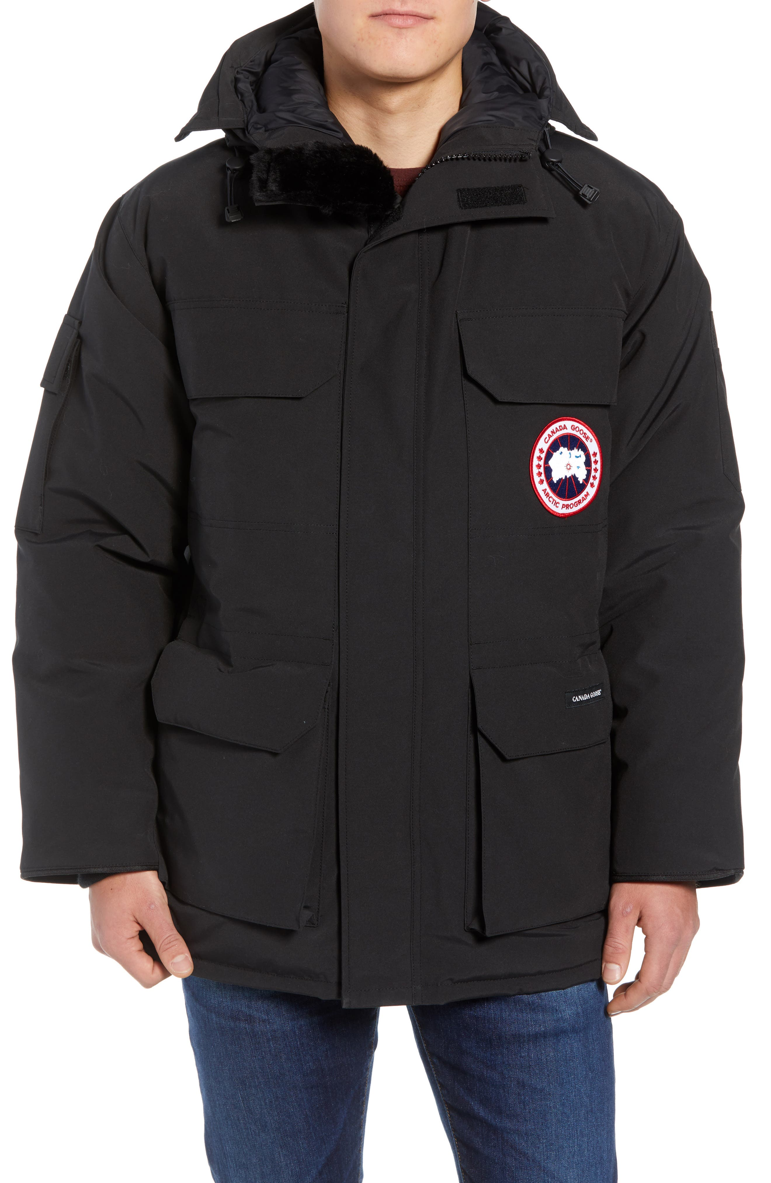 PBI Expedition Regular Fit Down Parka with Genuine Coyote Fur Trim,                             Alternate thumbnail 4, color,                             001