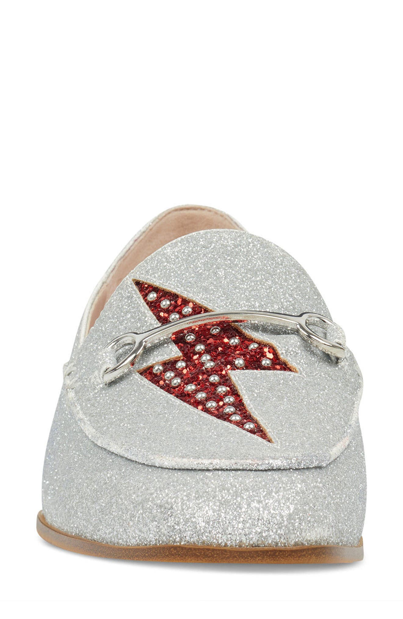 Wildgirls Embellished Loafer,                             Alternate thumbnail 4, color,                             SILVER/ RED FABRIC