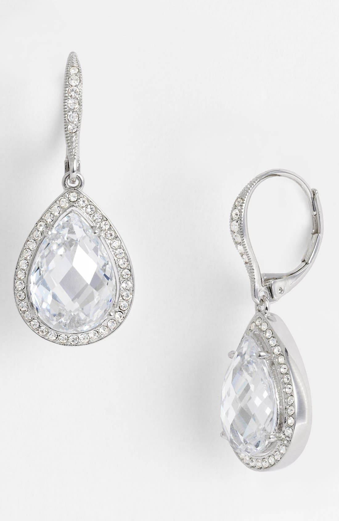 Pear Drop Earrings,                             Alternate thumbnail 2, color,                             CLEAR CRYSTAL/ SILVER