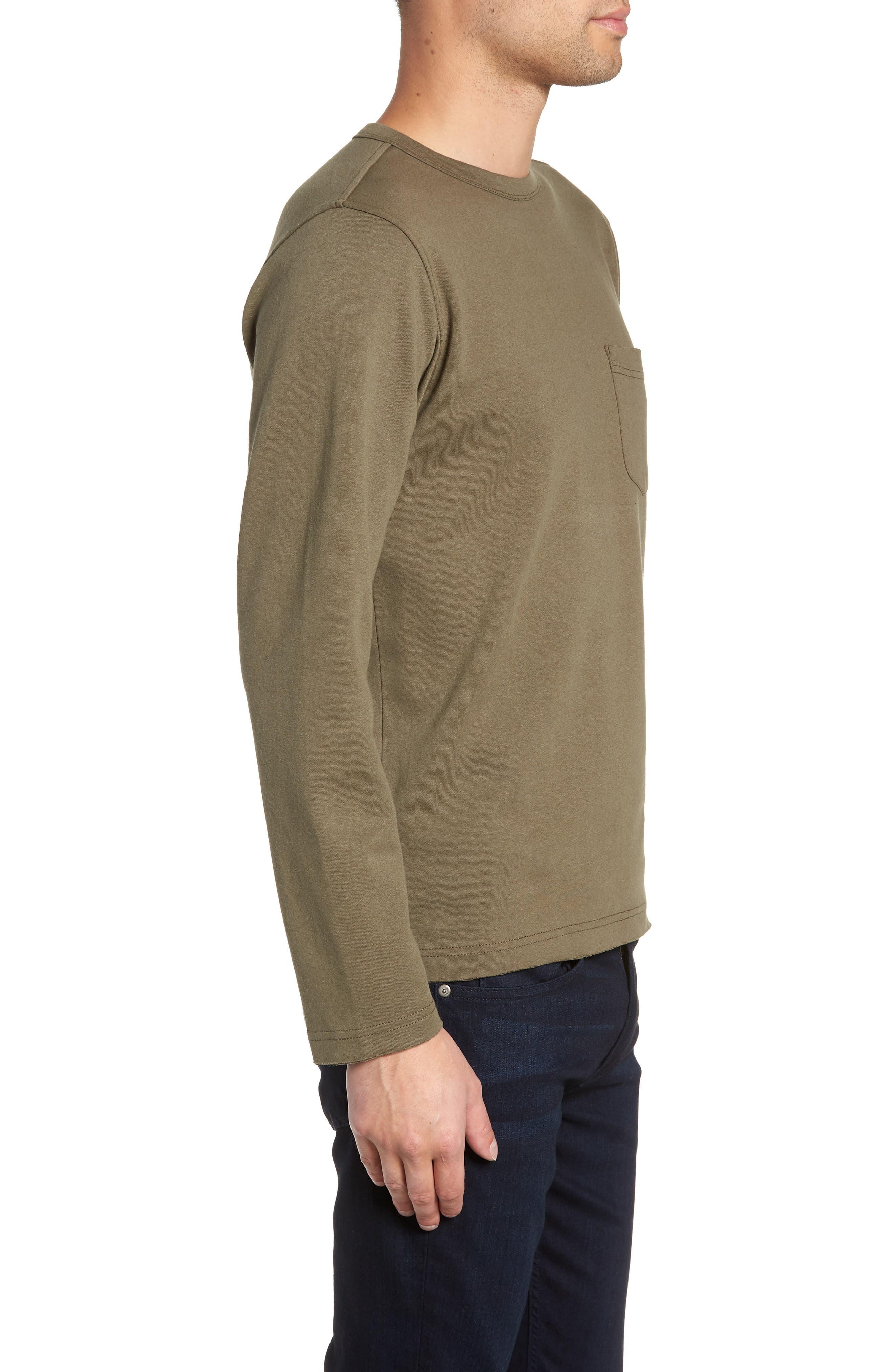 Trim Fit Long Sleeve Pocket T-Shirt,                             Alternate thumbnail 3, color,                             OLIVE