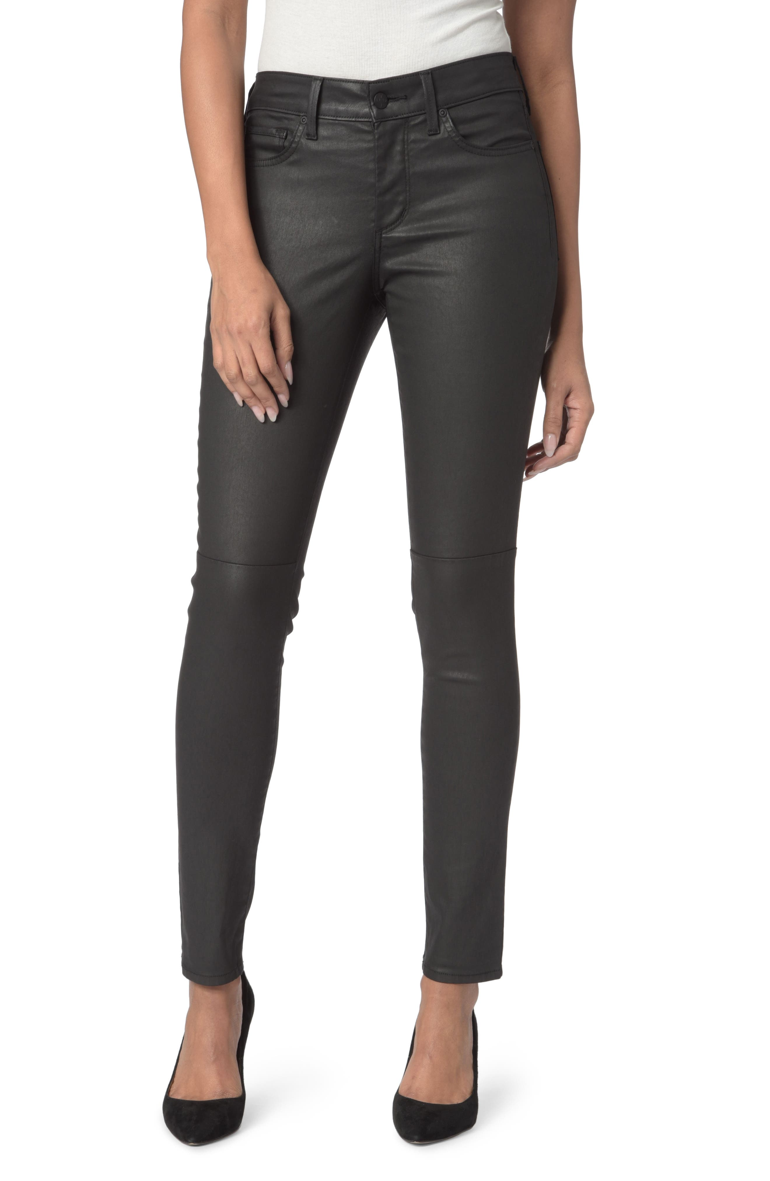 High Waist  Coated Stretch Skinny Jeans,                             Main thumbnail 2, color,