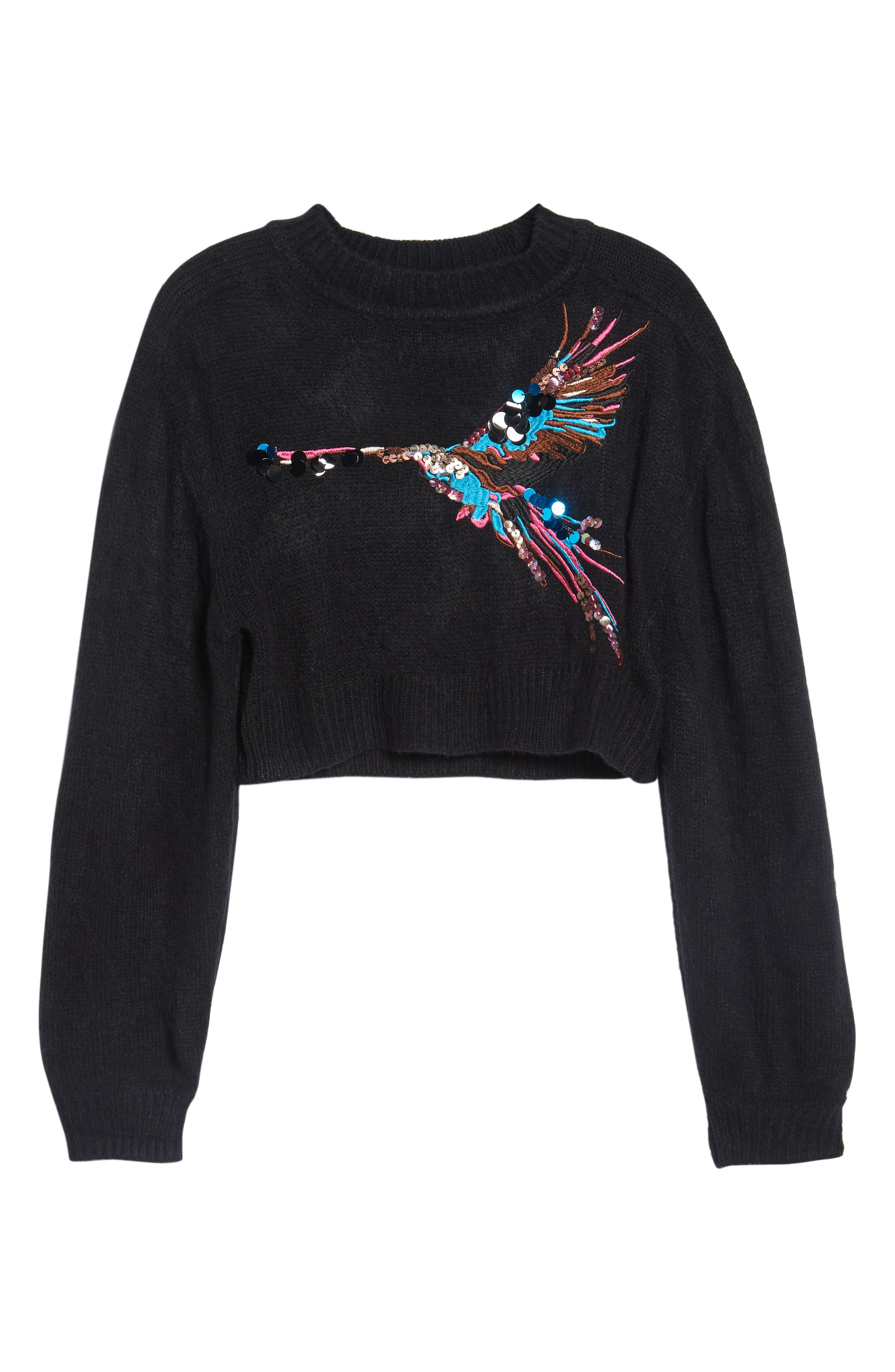 Embroidered Bird Sweater,                             Alternate thumbnail 6, color,                             001