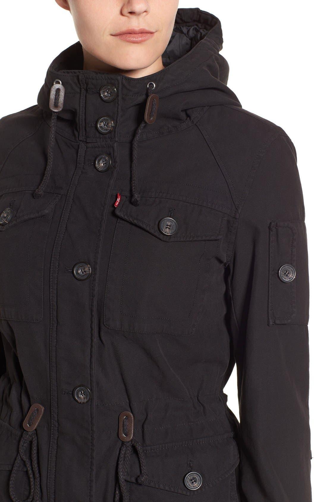 Cotton Twill Utility Jacket,                             Alternate thumbnail 4, color,                             001