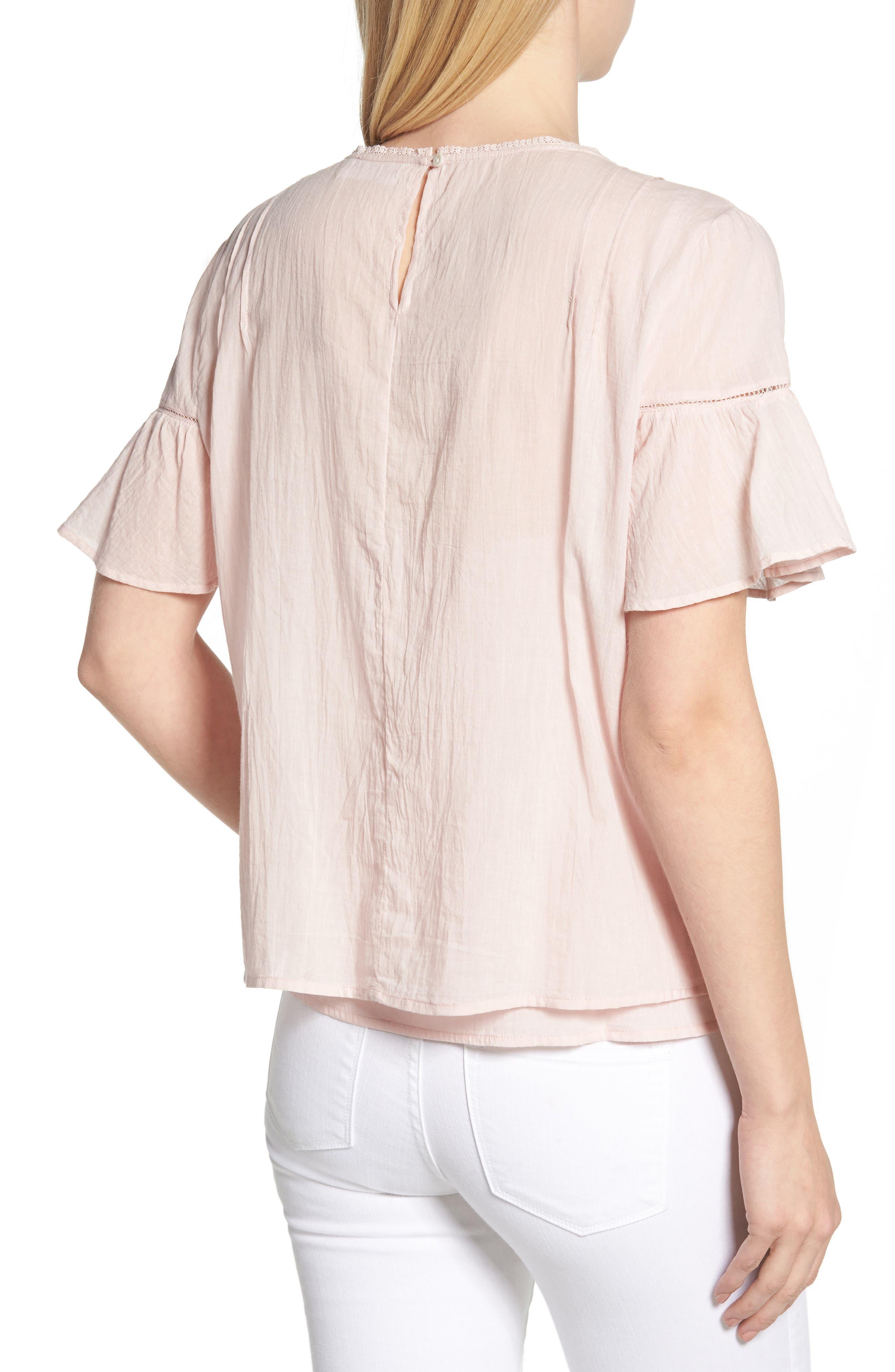 Cotton Lace Blouse,                             Alternate thumbnail 2, color,                             PALE PINK