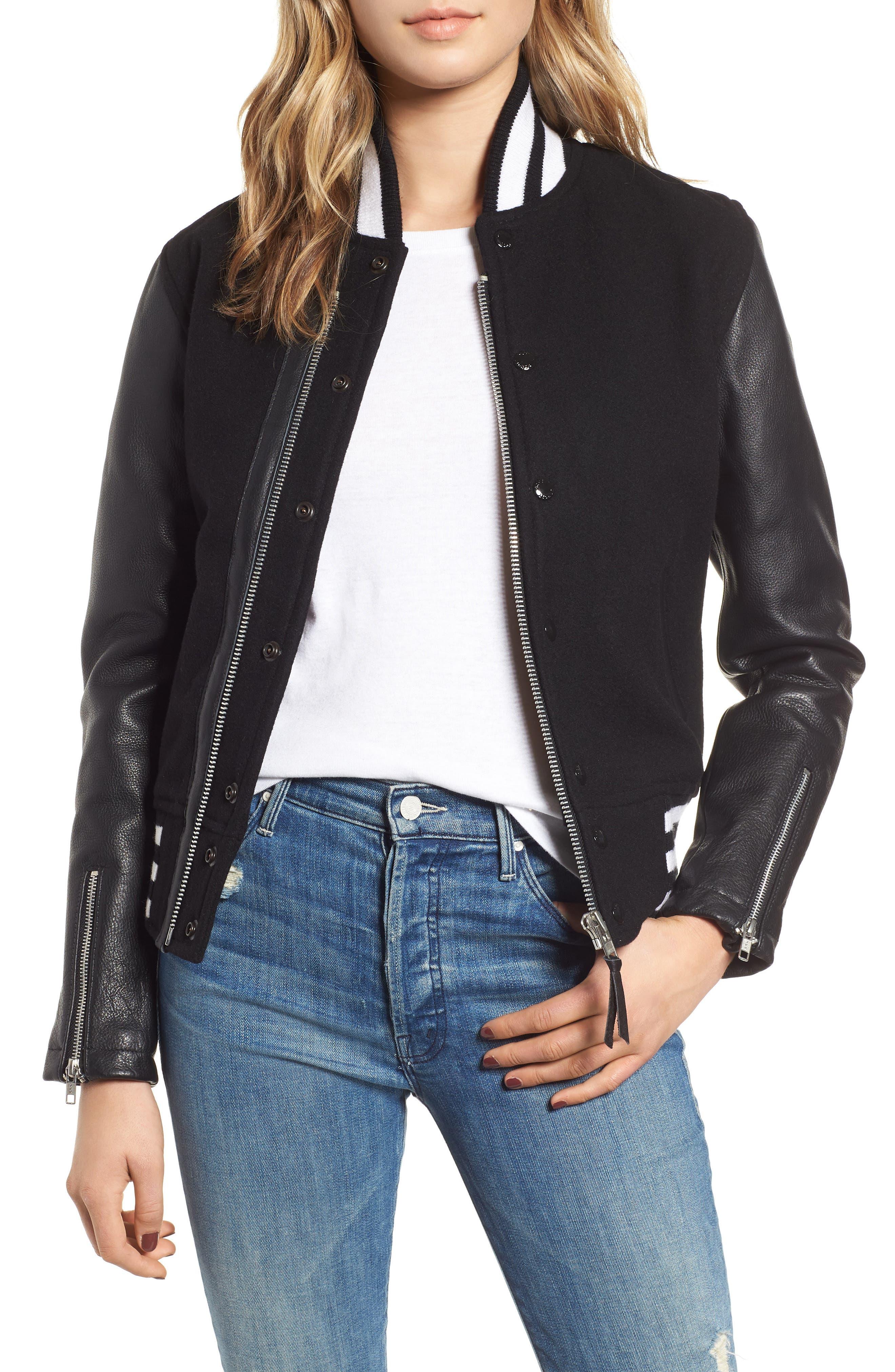 Moto Varsity Jacket in Black