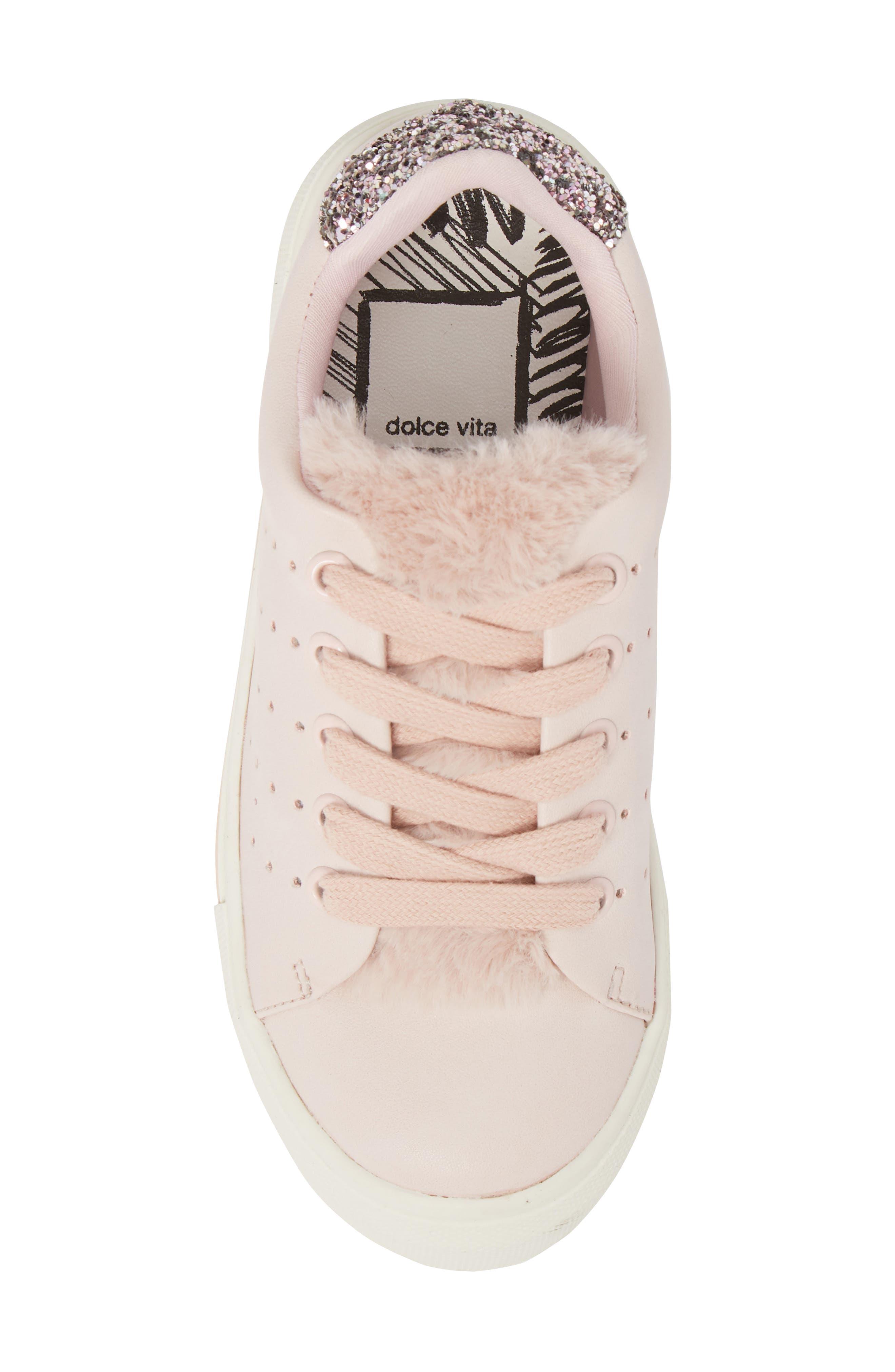 Cabel Glitter Faux Fur Sneaker,                             Alternate thumbnail 5, color,                             PINK