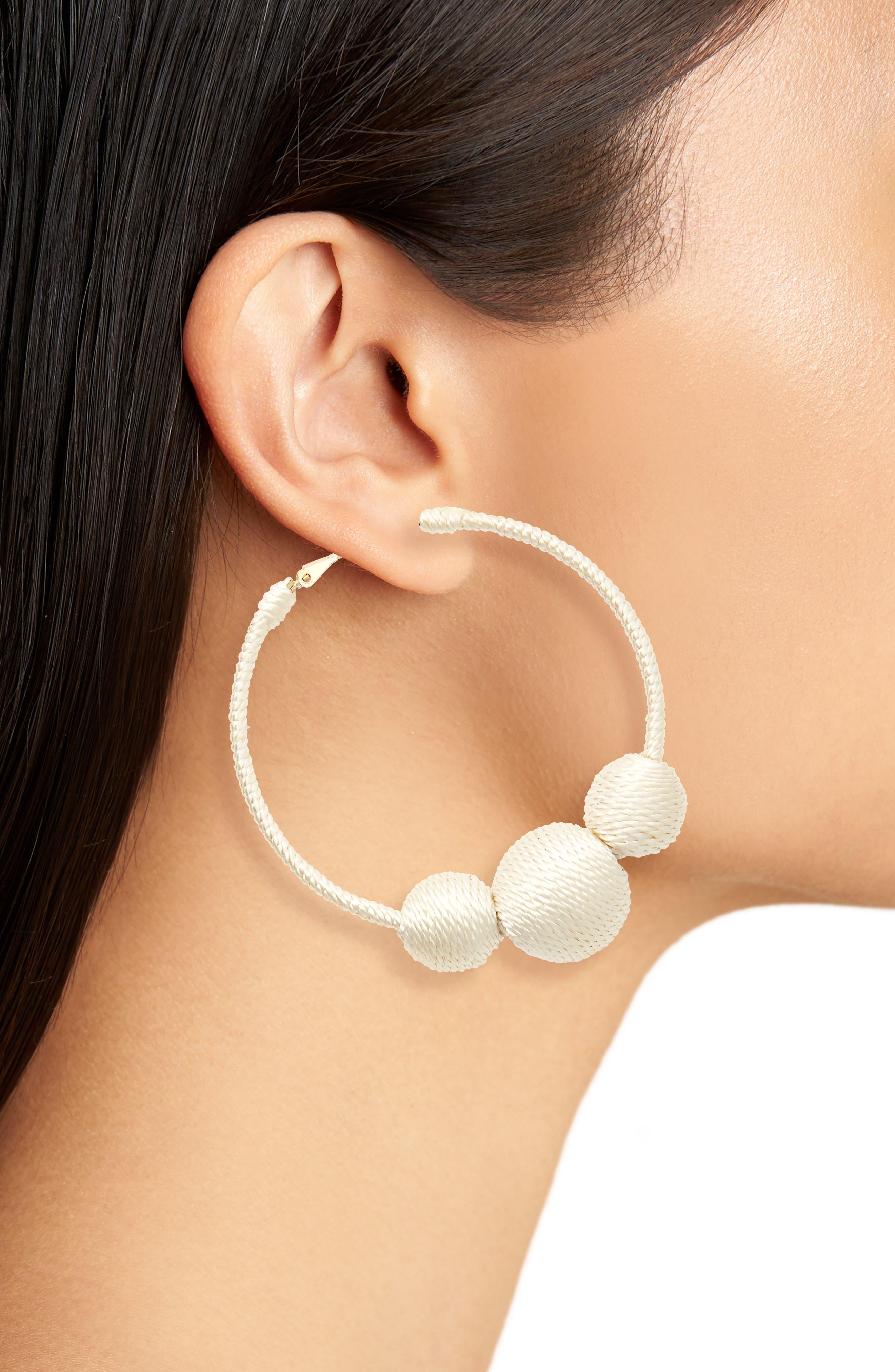 Wrapped Ball Hoop Earrings,                             Alternate thumbnail 6, color,