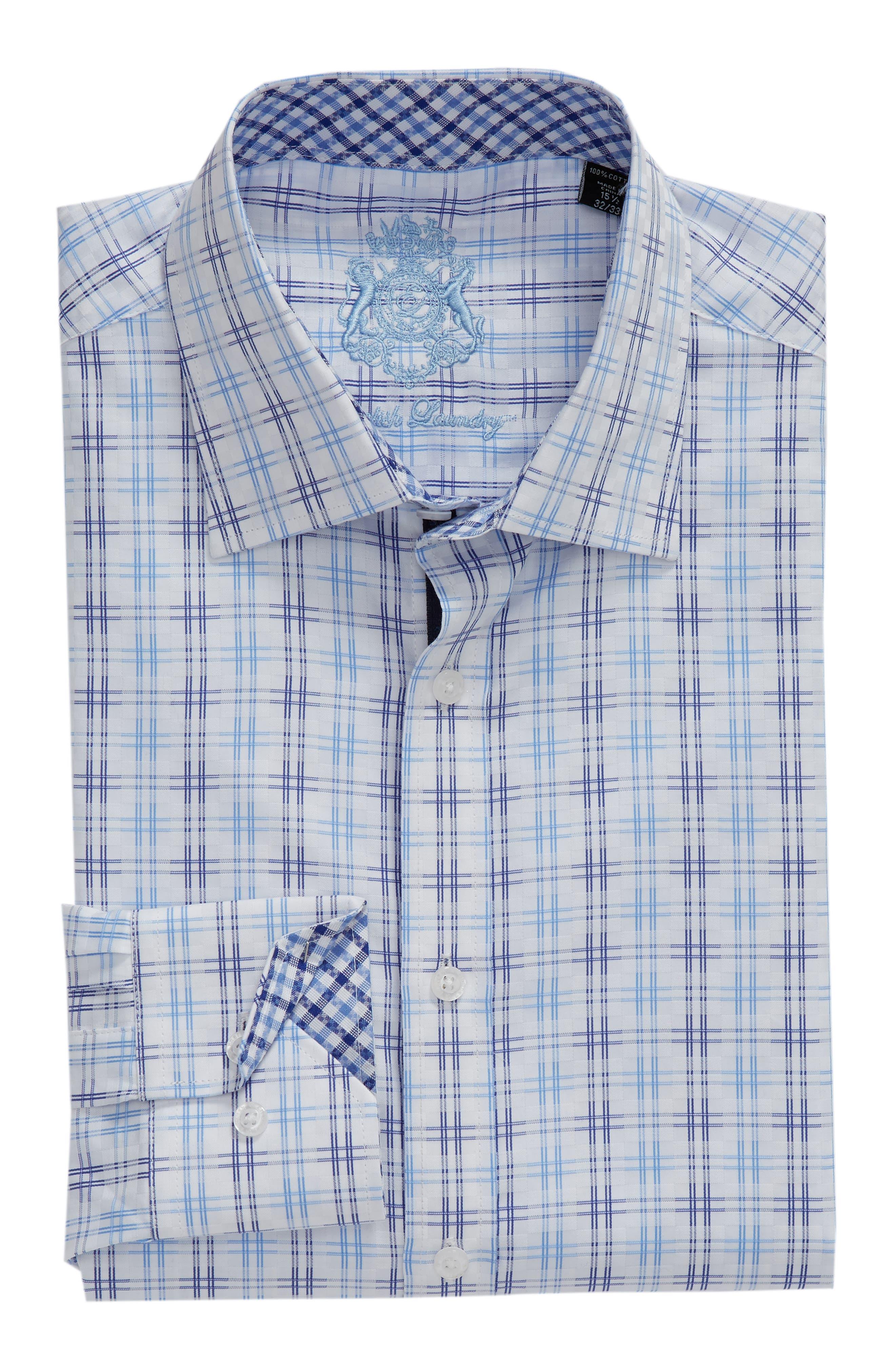 Regular Fit Solid Dress Shirt,                             Alternate thumbnail 5, color,                             BLUE