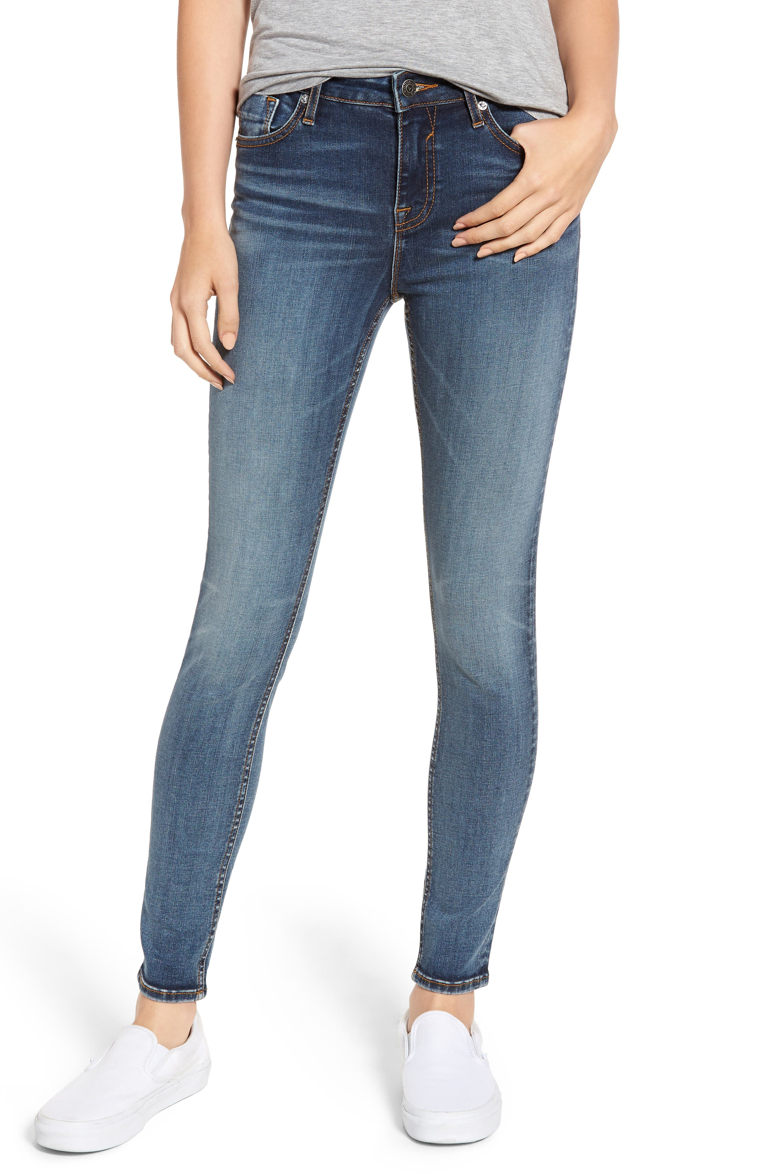 Marley Skinny Jeans,                         Main,                         color, MED WASH