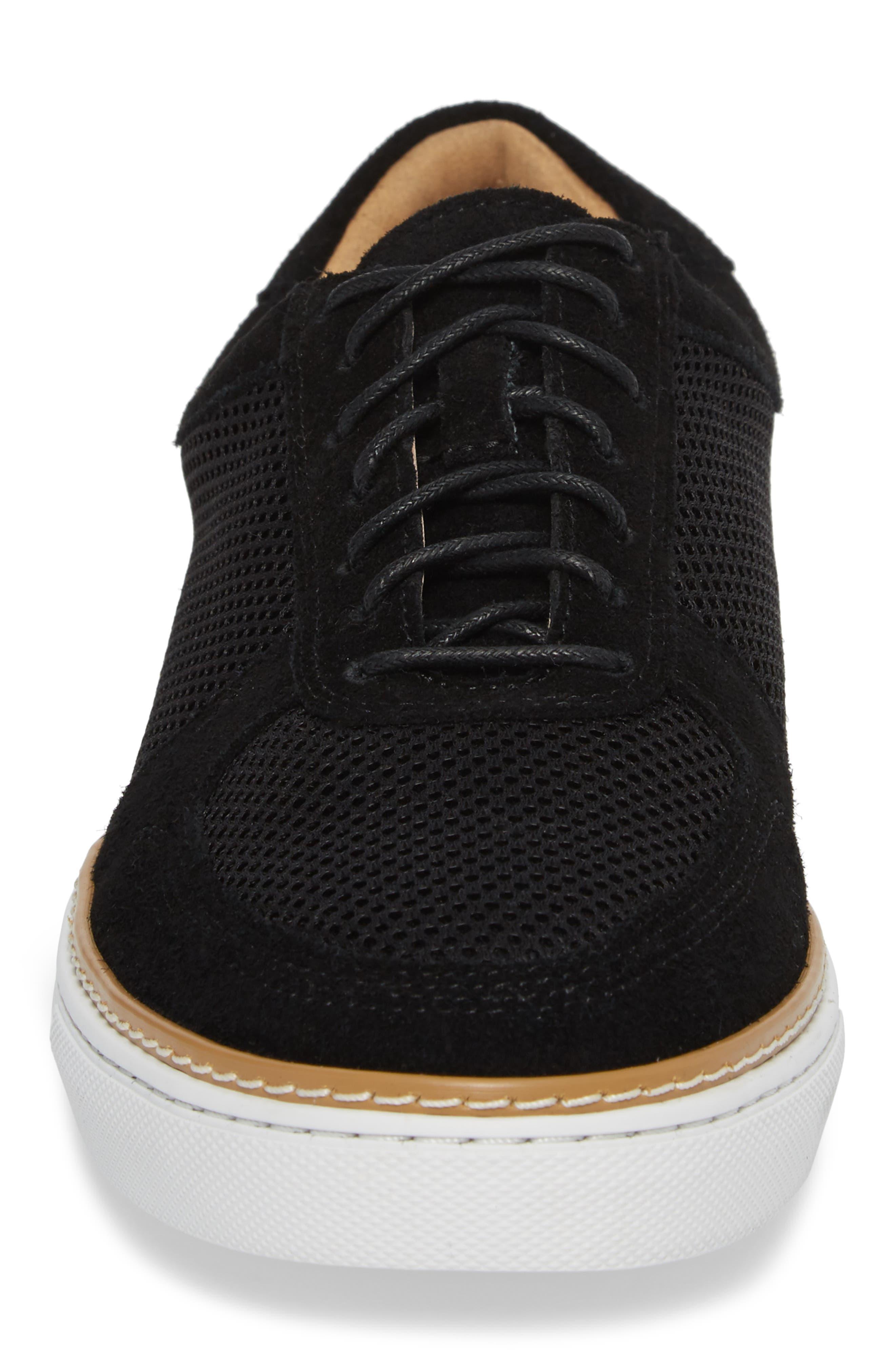 Landseer Mesh Sneaker,                             Alternate thumbnail 4, color,                             BLACK SUEDE/ MESH