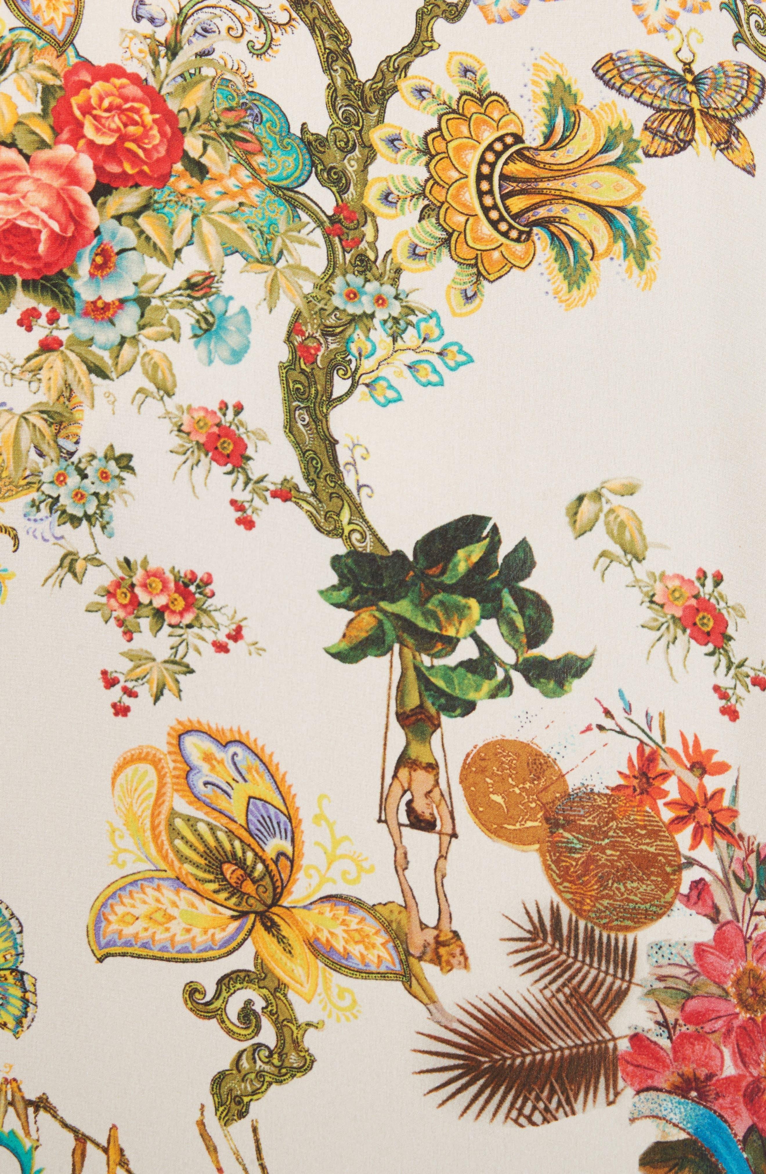 Tree of Life Print Silk Blouse,                             Alternate thumbnail 5, color,                             100