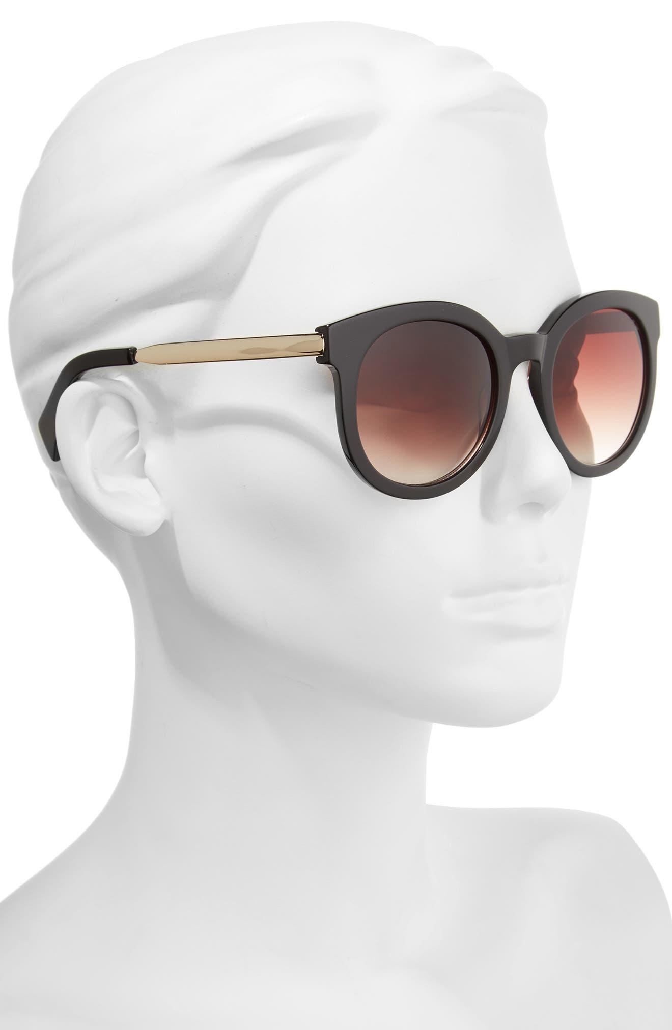 53mm Gradient Lens Round Sunglasses,                             Alternate thumbnail 2, color,                             001