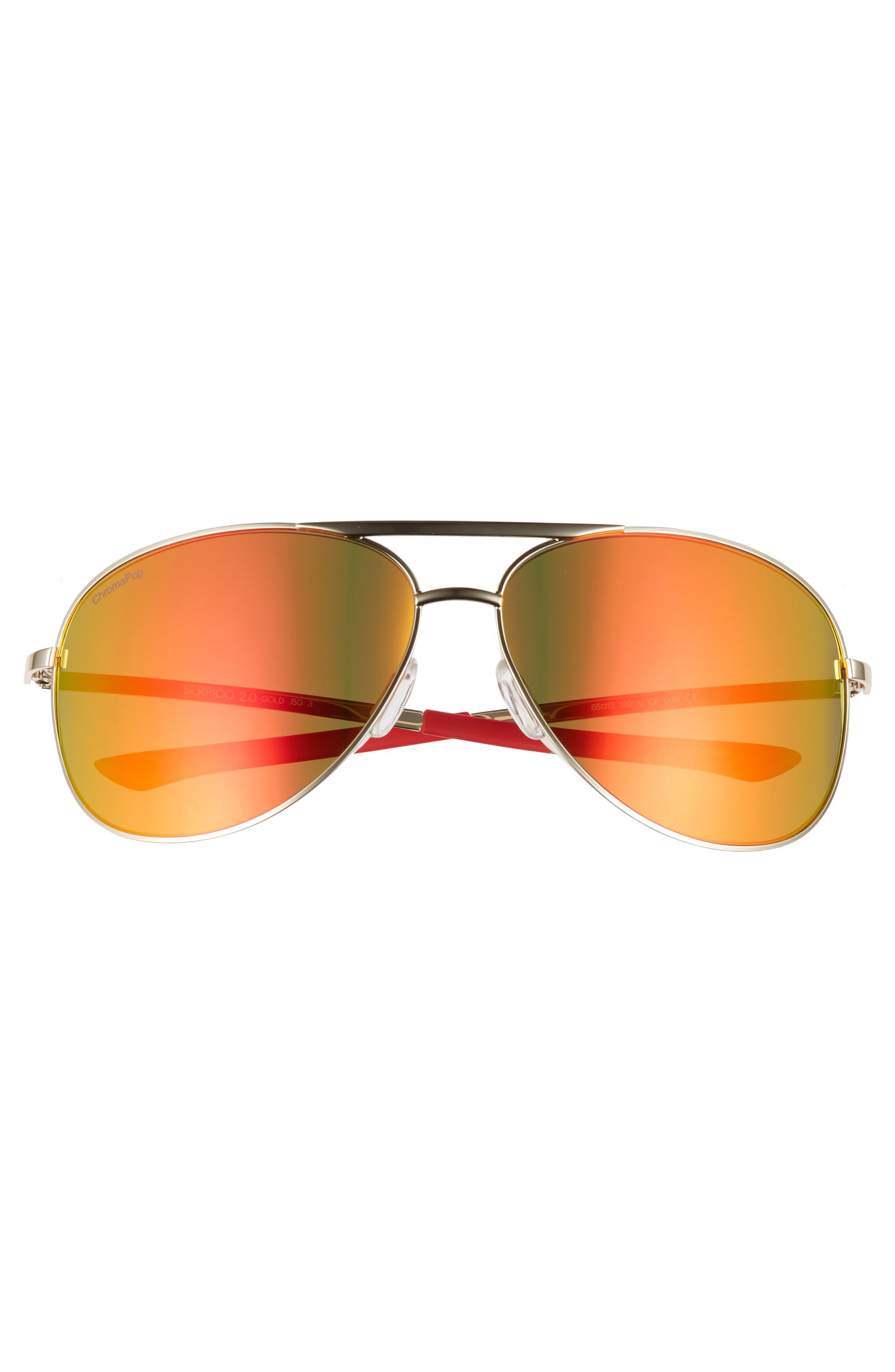 Serpico 2 65mm Mirrored ChromaPop<sup>™</sup> Polarized Aviator Sunglasses,                             Alternate thumbnail 3, color,                             710