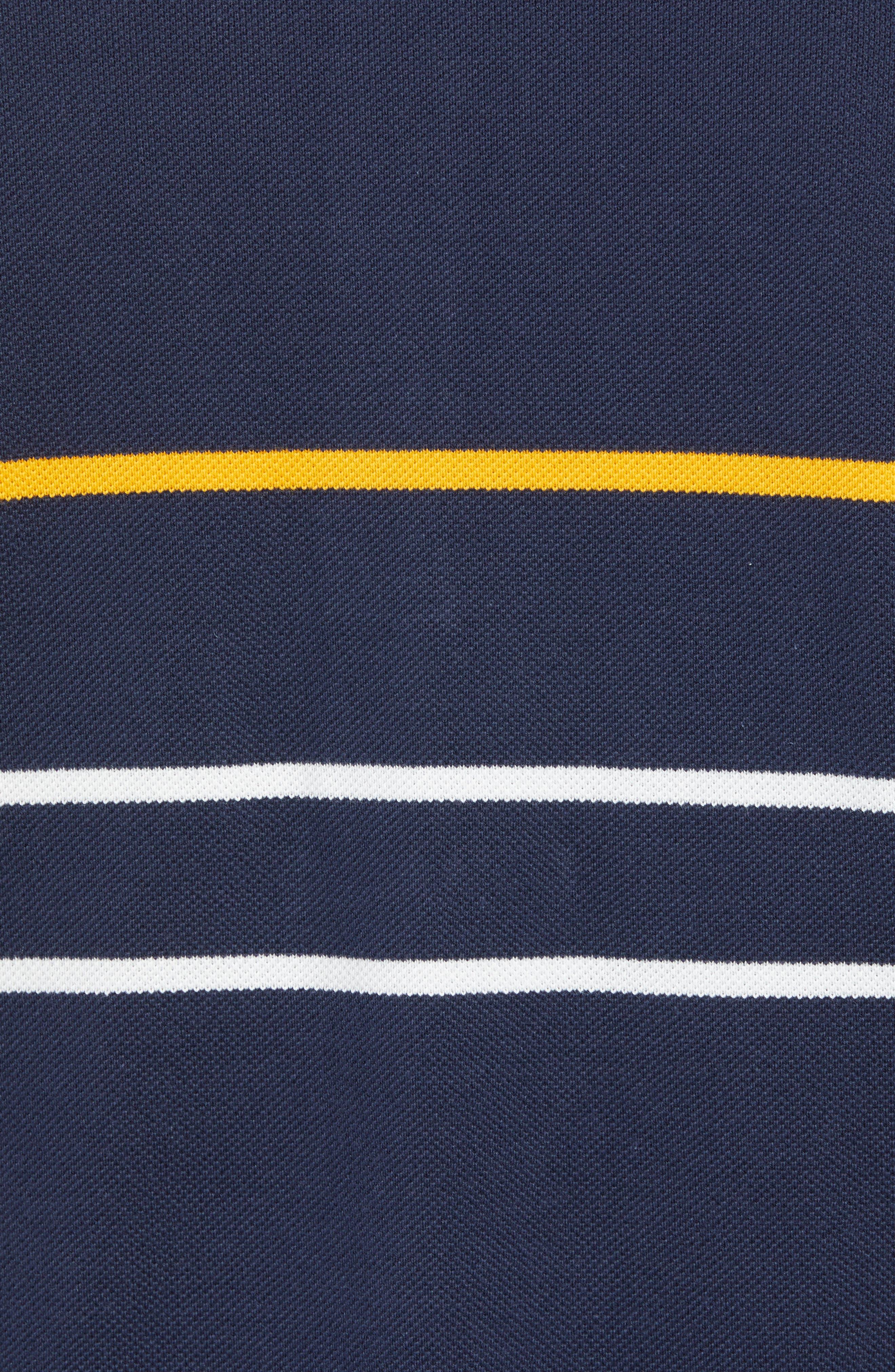 Regular Fit Stripe Cotton Polo,                             Alternate thumbnail 5, color,                             DS1 MERIDIAN BLUE/ BAOBAB-POME