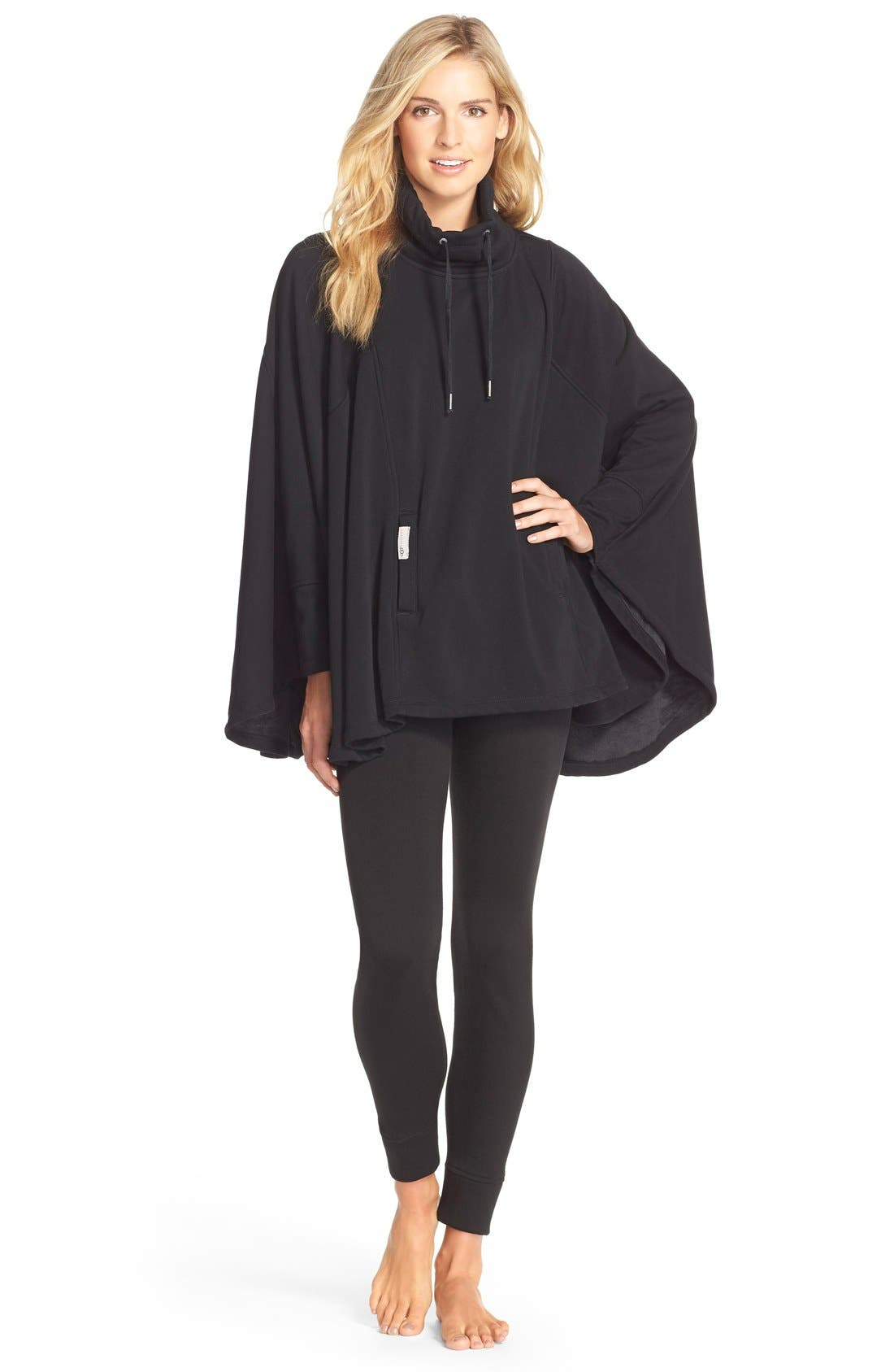 Pichot Turtleneck Poncho,                             Alternate thumbnail 2, color,                             BLACK