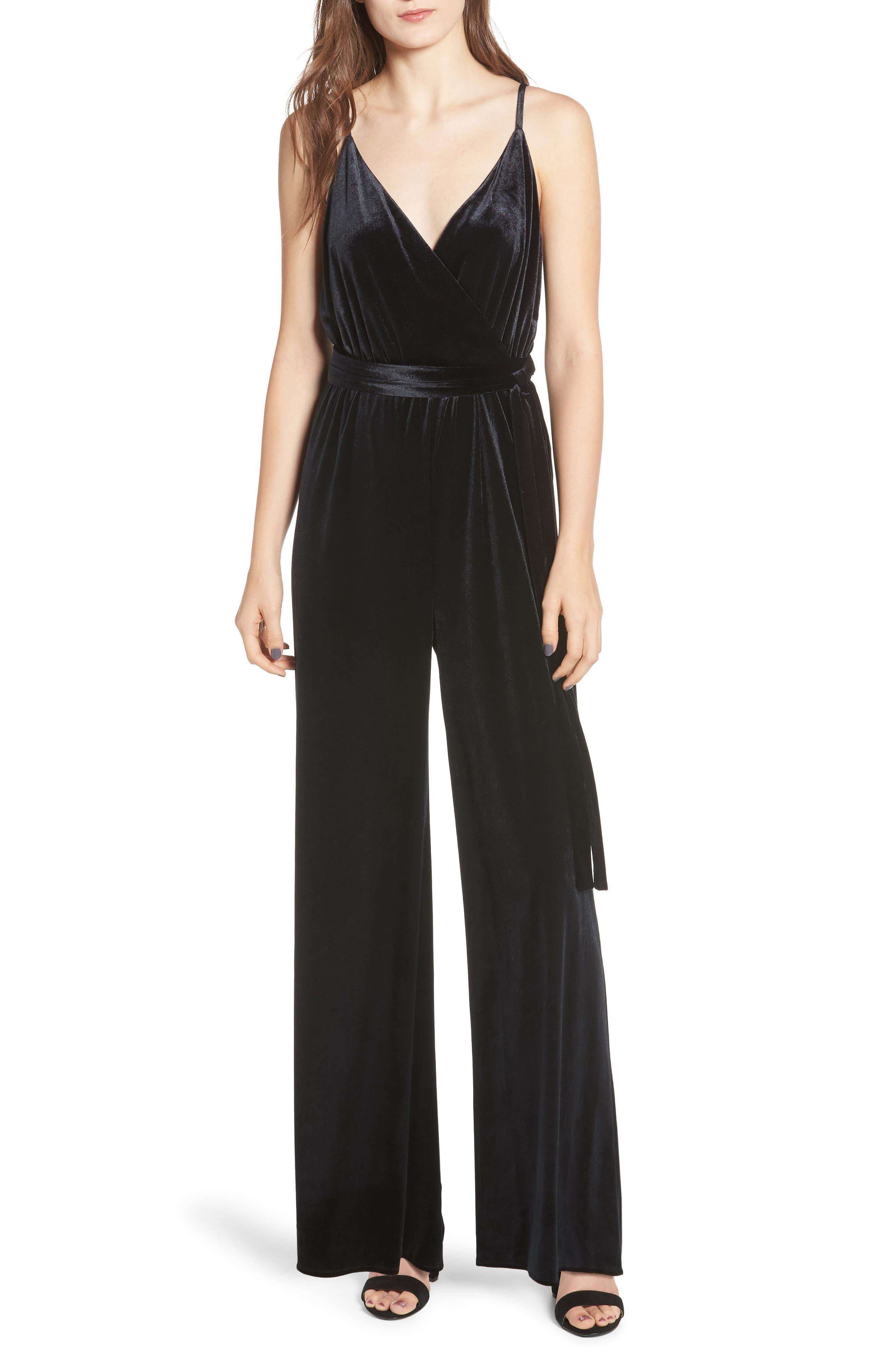 Luna Stretch Velvet Jumpsuit, Main, color, 001