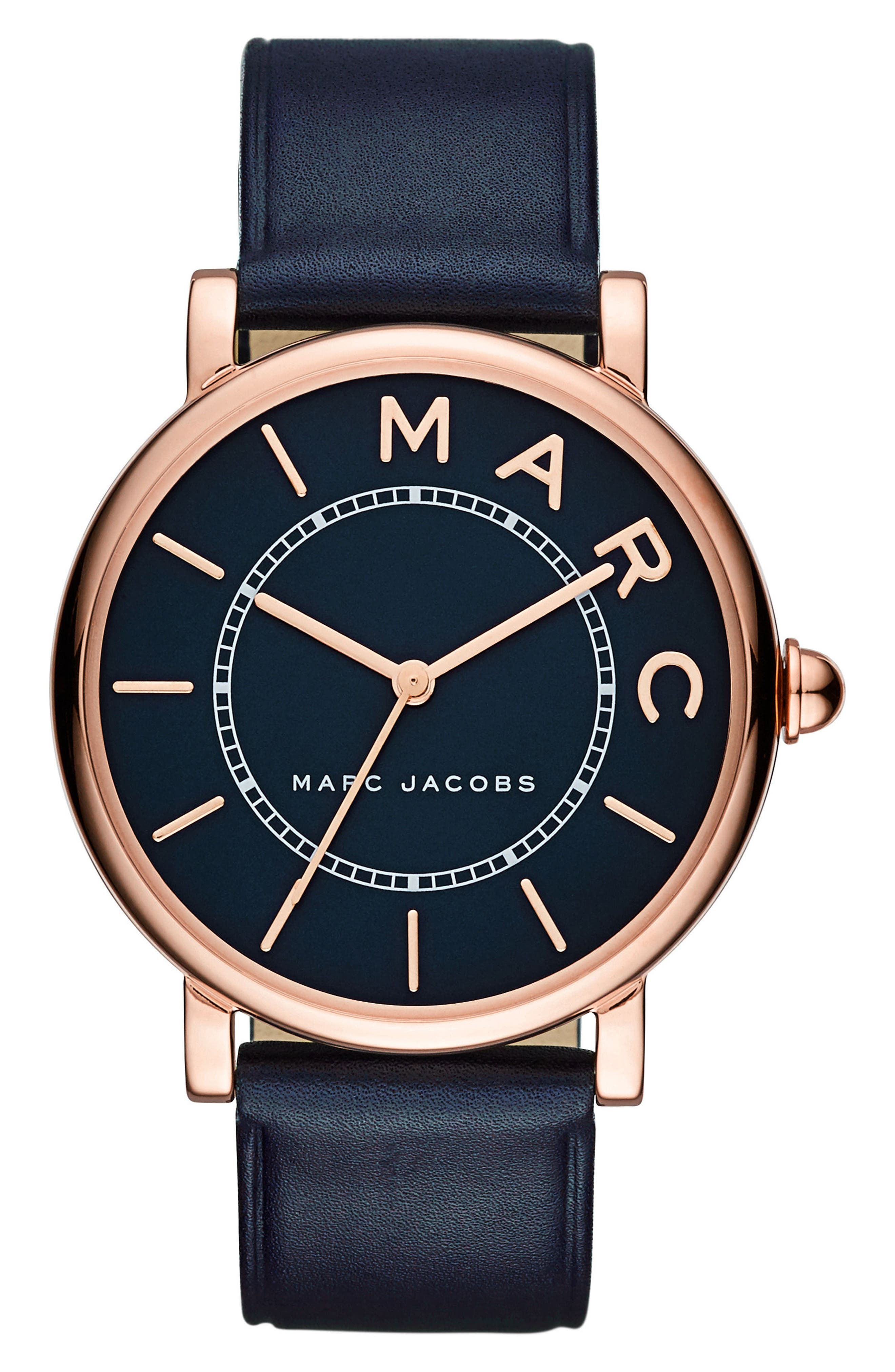 Classic Leather Strap Watch, 36mm,                         Main,                         color, BLUE/ ROSE GOLD