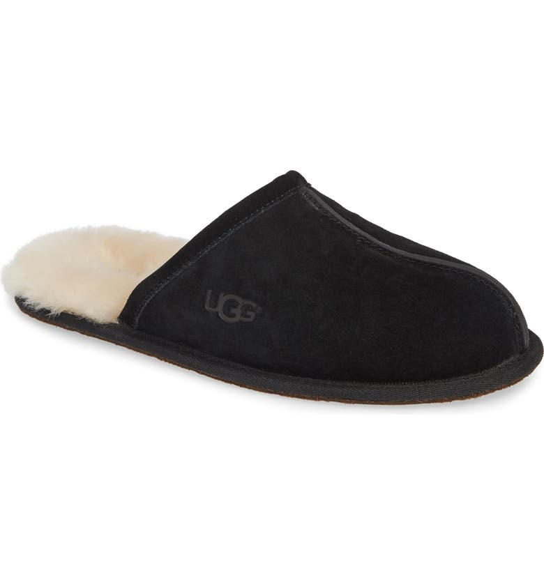 Scuff Slipper, Main, color, BLACK SUEDE