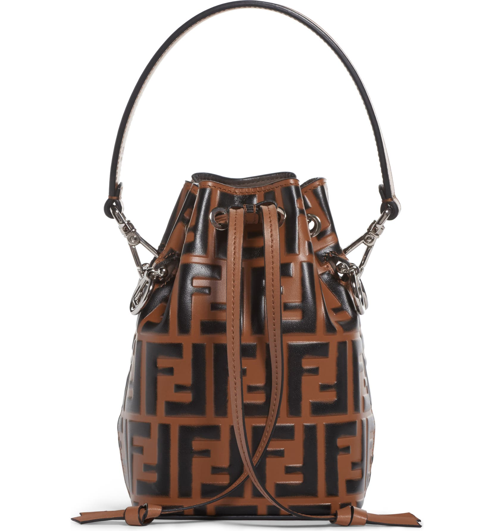 Fendi Mon Tresor Logo Leather Bucket Bag  132807860f818