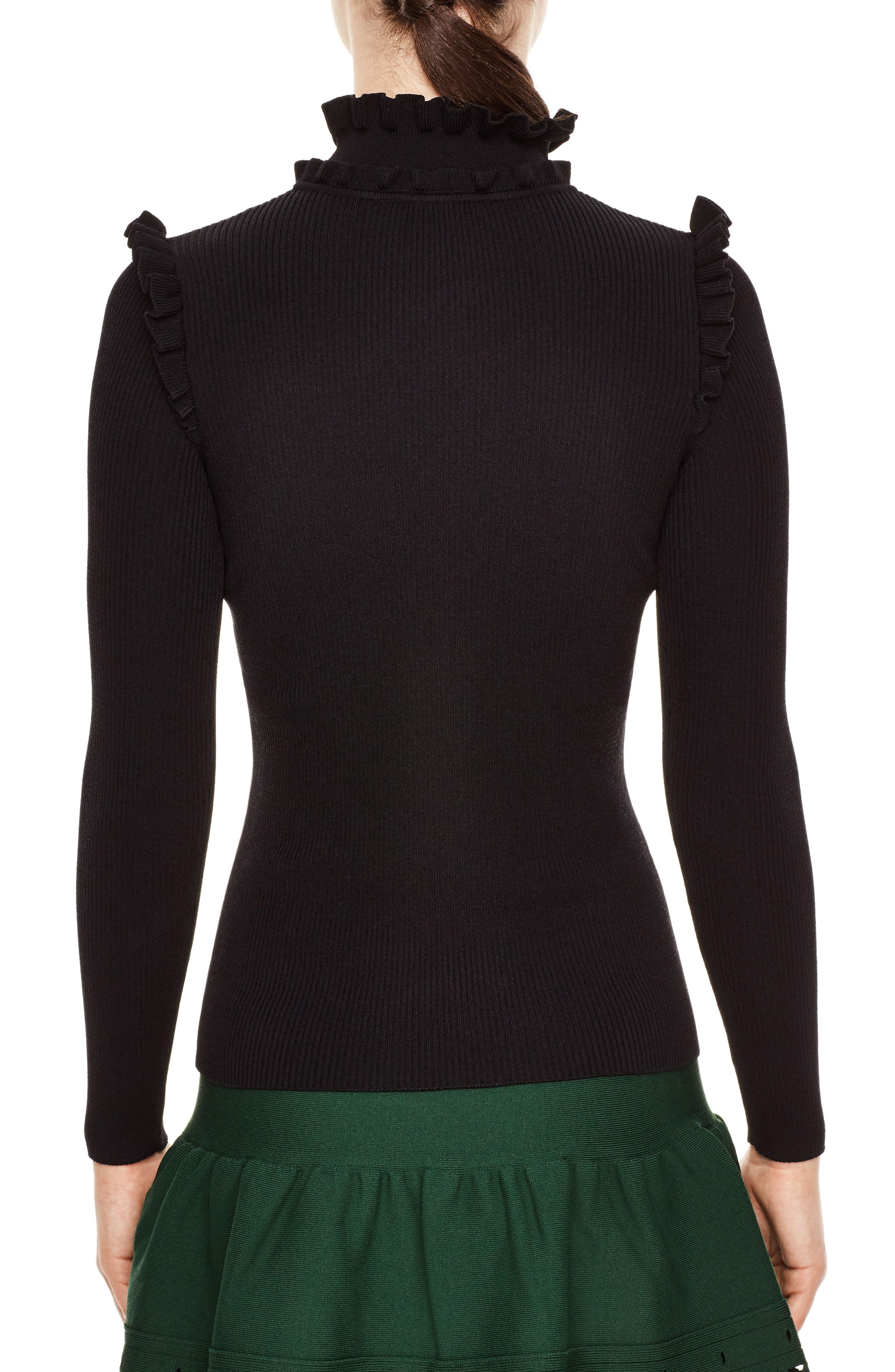 Ruffle Trim Turtleneck Sweater,                             Alternate thumbnail 2, color,                             001