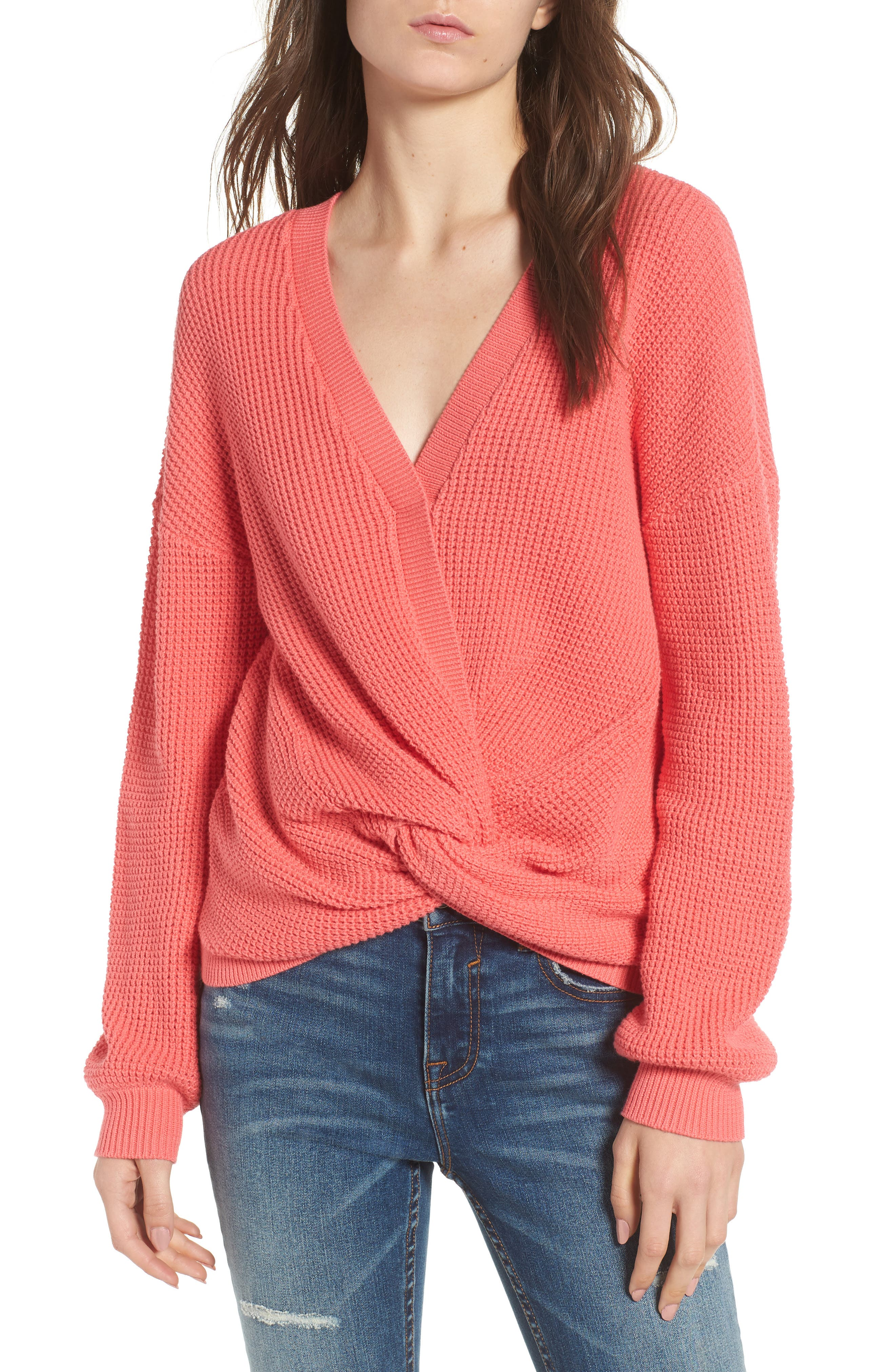 Twist Front Sweater,                         Main,                         color, CORAL SUNKIST