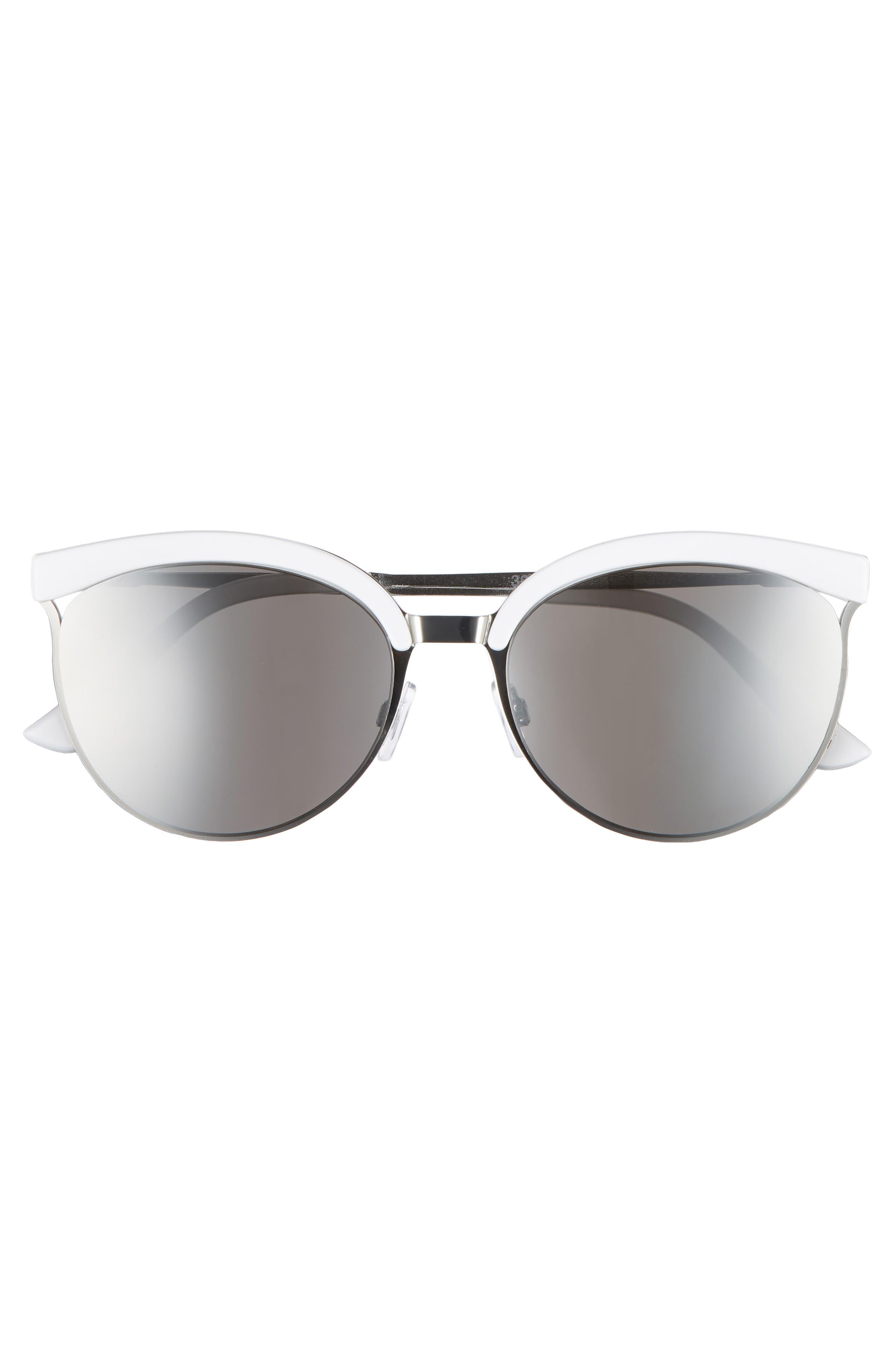 57mm Round Sunglasses,                             Alternate thumbnail 3, color,                             WHITE/ SILVER
