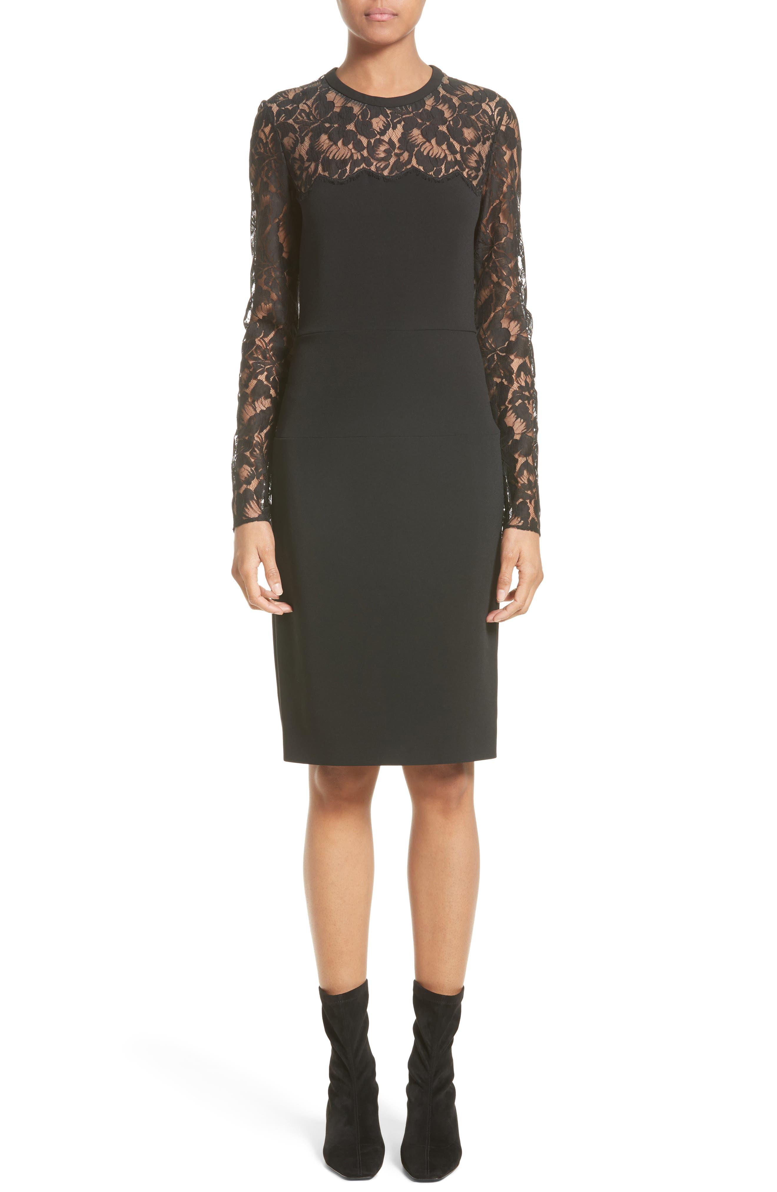 Lace Illusion Sheath Dress,                             Main thumbnail 1, color,                             001